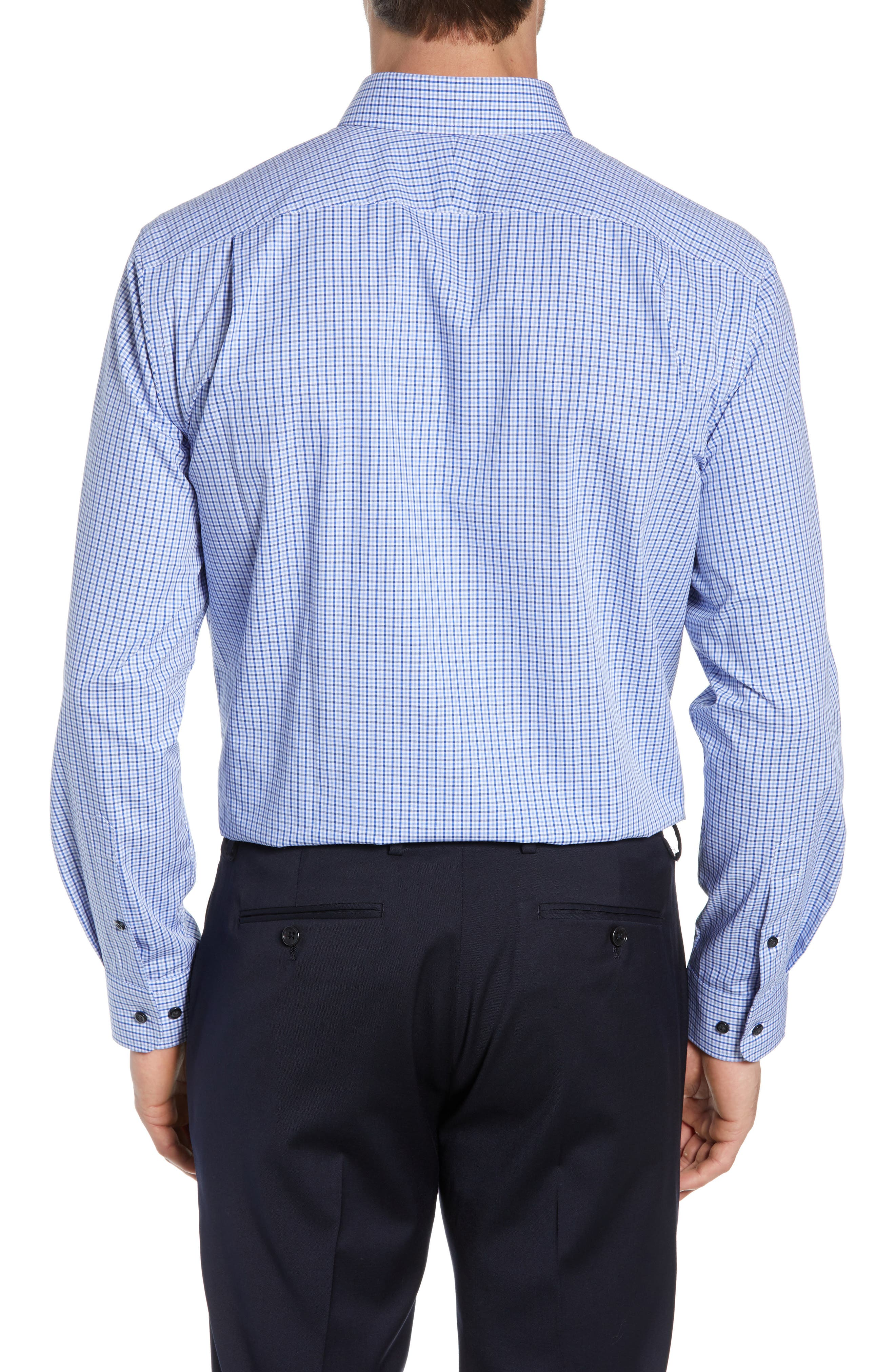 NORDSTROM MEN'S SHOP, Traditional Fit Non-Iron Check Dress Shirt, Alternate thumbnail 3, color, BLUE MARINE