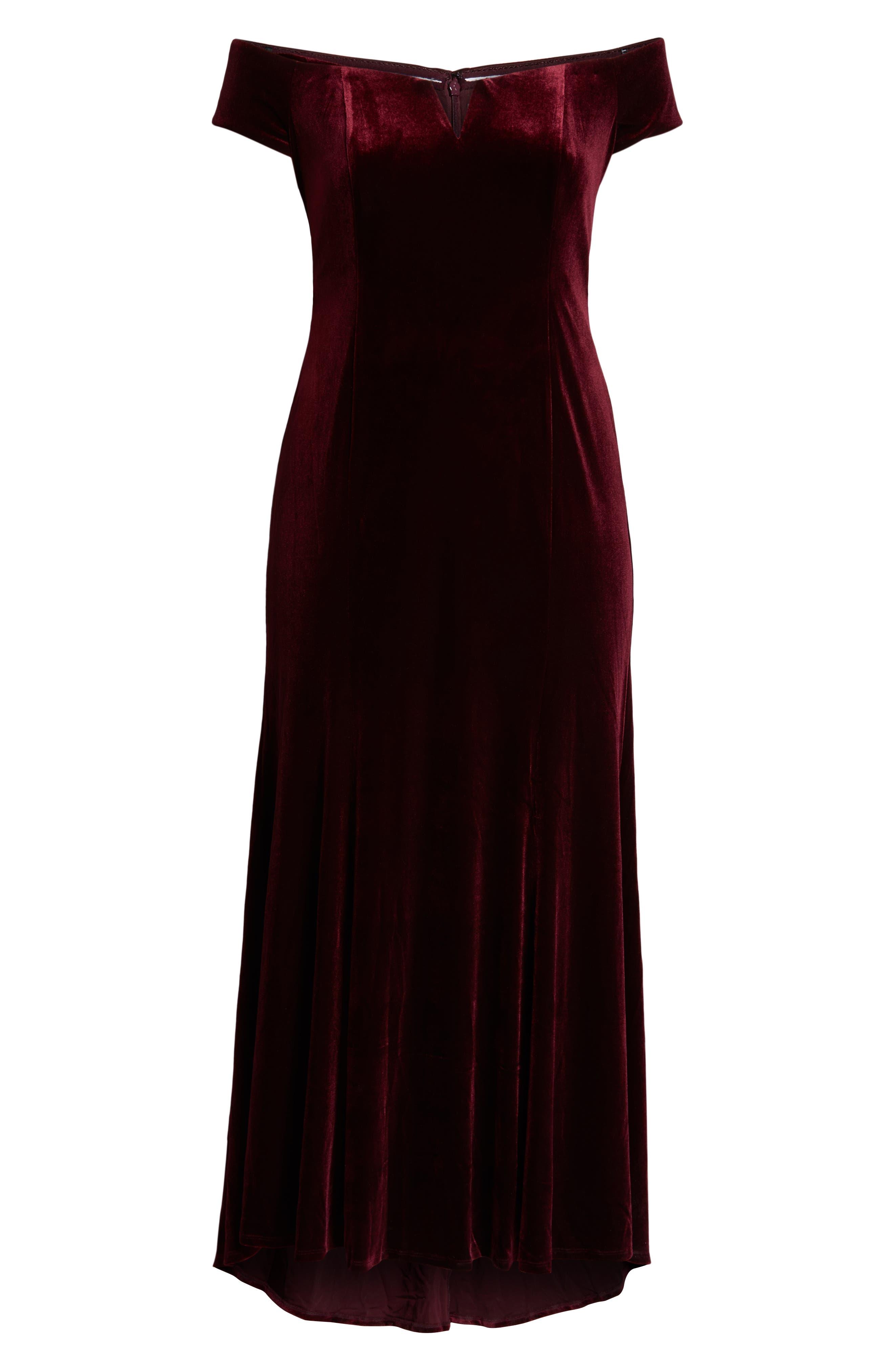 VINCE CAMUTO, Notch Neck Velvet Off the Shoulder Gown, Alternate thumbnail 7, color, 930