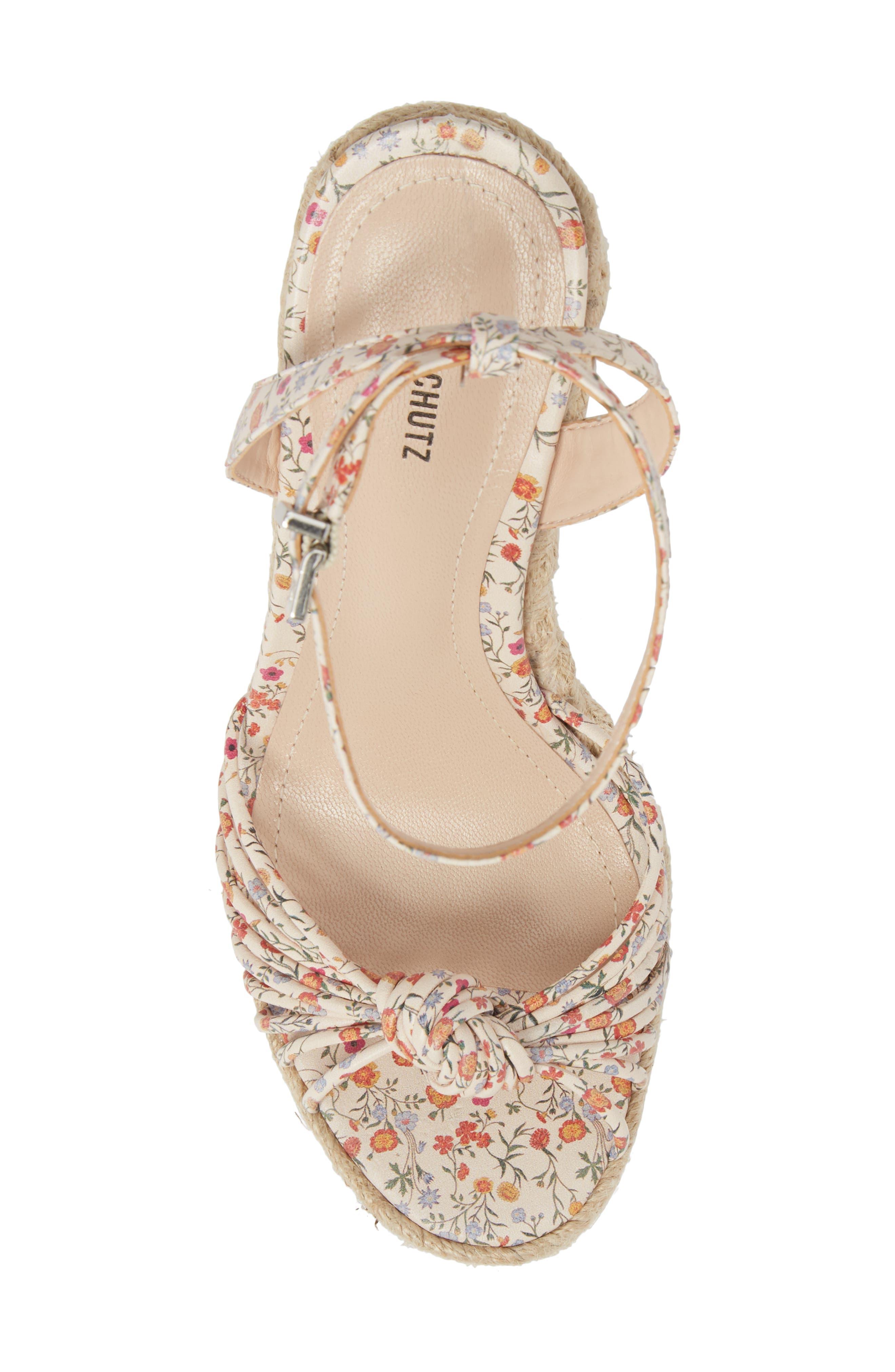 SCHUTZ, Gianne Platform Wedge Sandal, Alternate thumbnail 5, color, FLORAL LEATHER