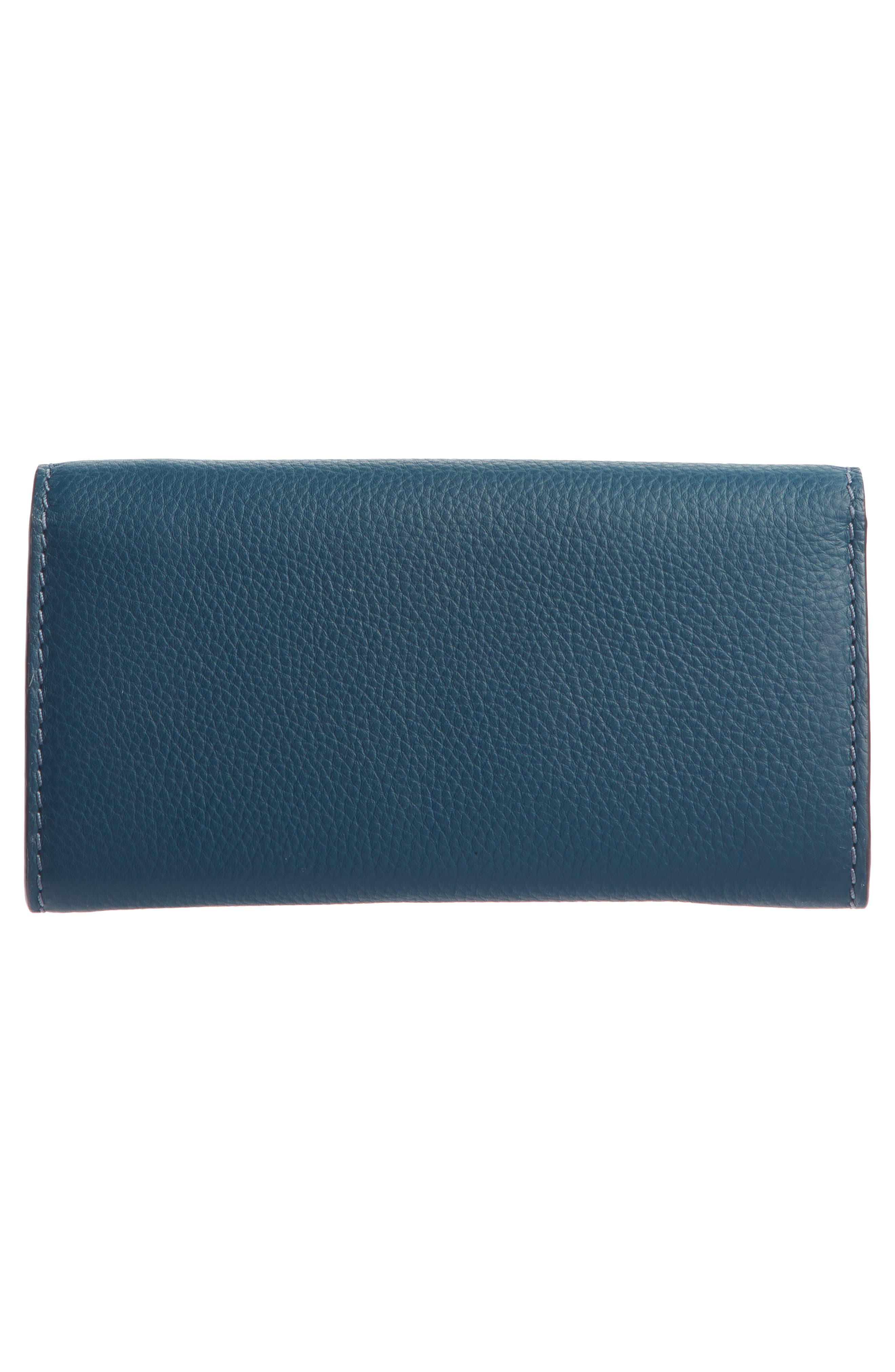 CHLOÉ, Marcie - Long Leather Flap Wallet, Alternate thumbnail 2, color, NAVY INK