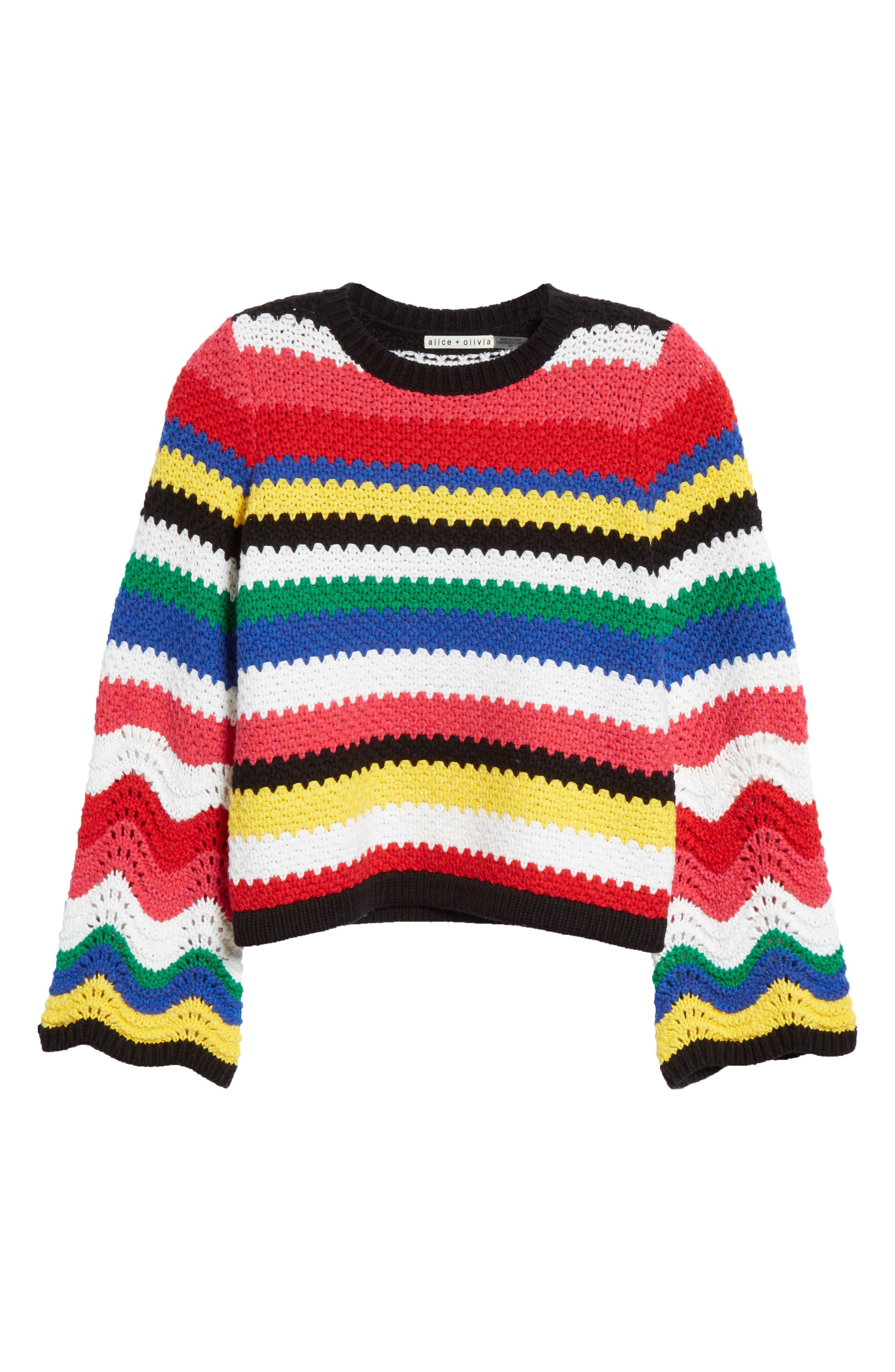 ALICE + OLIVIA, Alivia Stripe Bell Sleeve Cotton Blend Sweater, Alternate thumbnail 6, color, MULTI