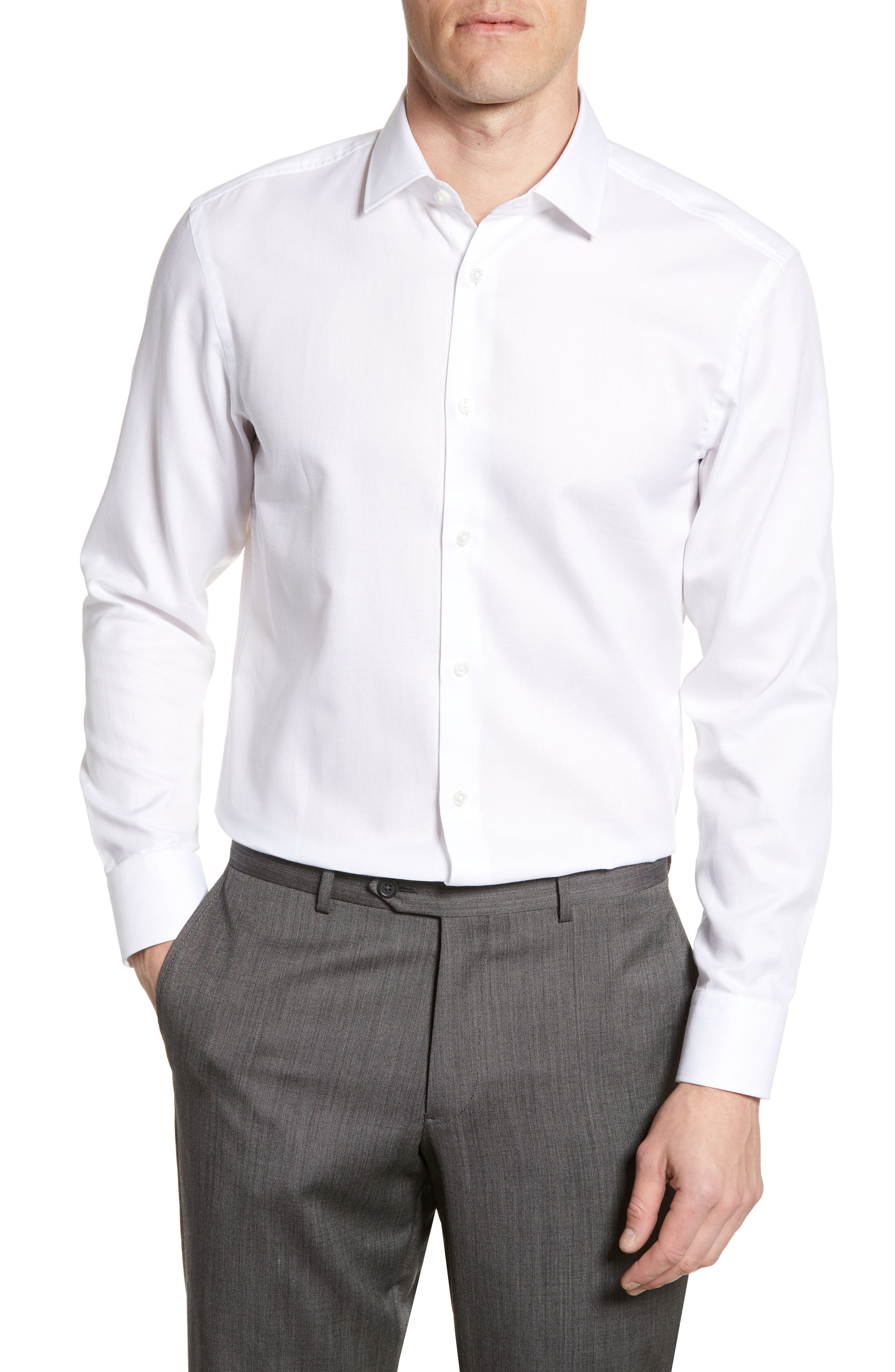 BOSS, Marley Sharp Fit Dress Shirt, Main thumbnail 1, color, WHITE