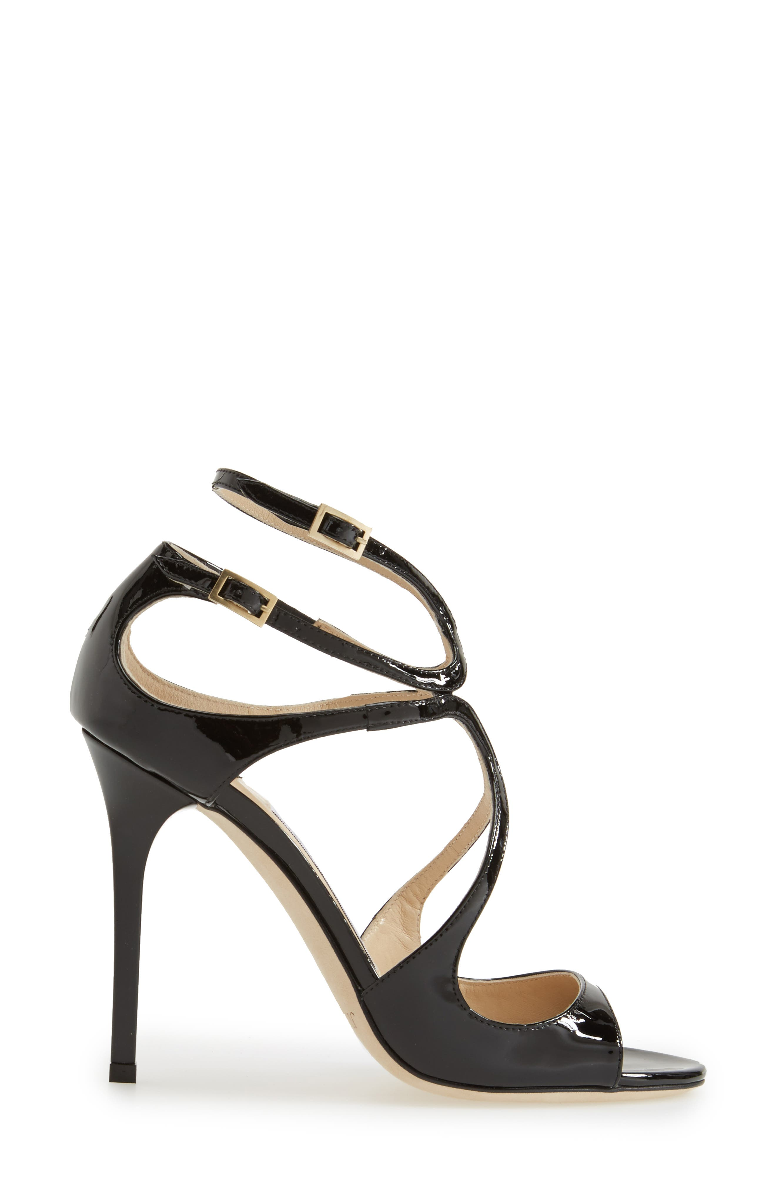 JIMMY CHOO, 'Lang' Sandal, Alternate thumbnail 3, color, BLACK PATENT