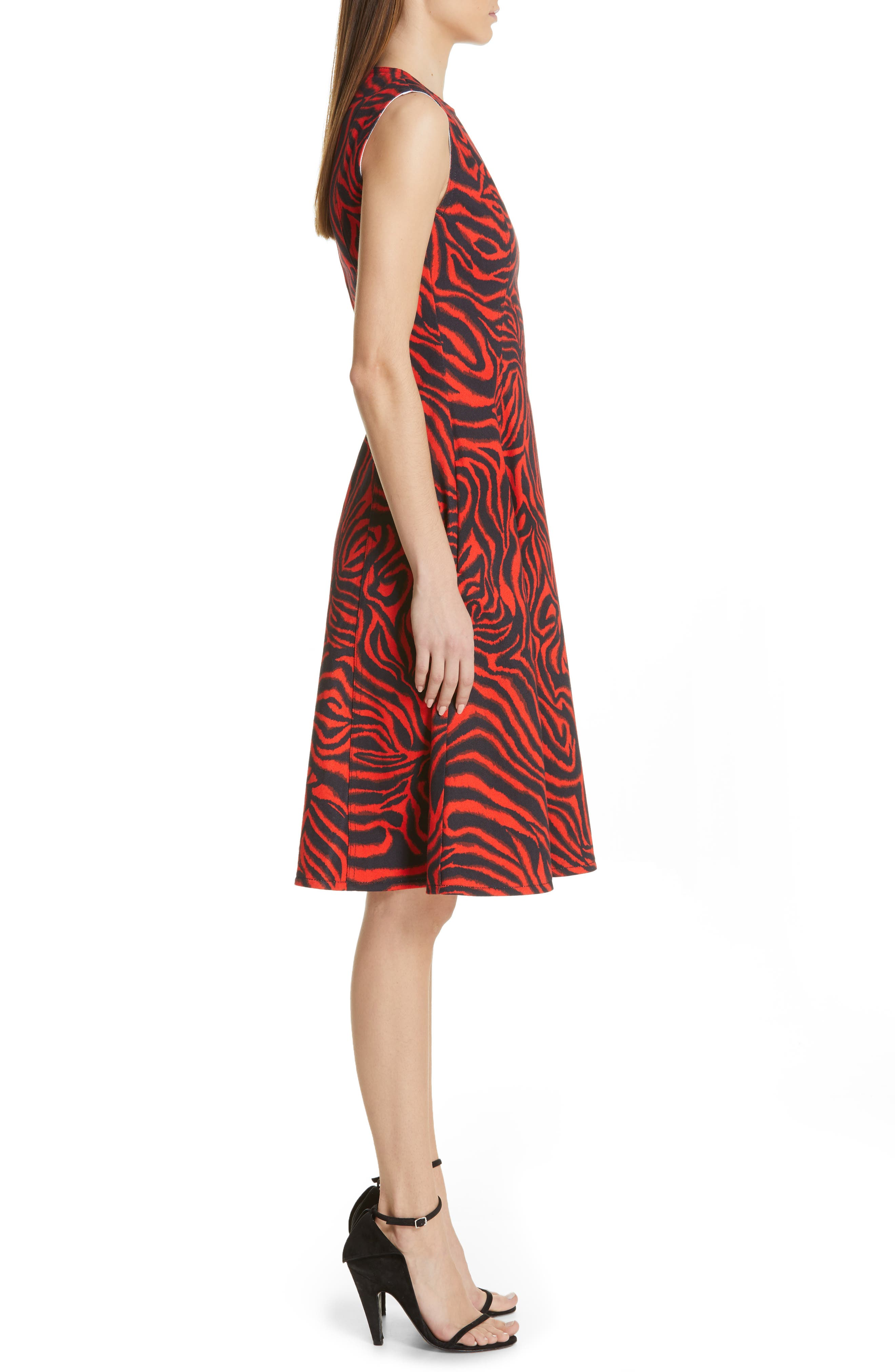CALVIN KLEIN 205W39NYC, Zebra Print Denim A-Line Dress, Alternate thumbnail 4, color, RED ZEBRA