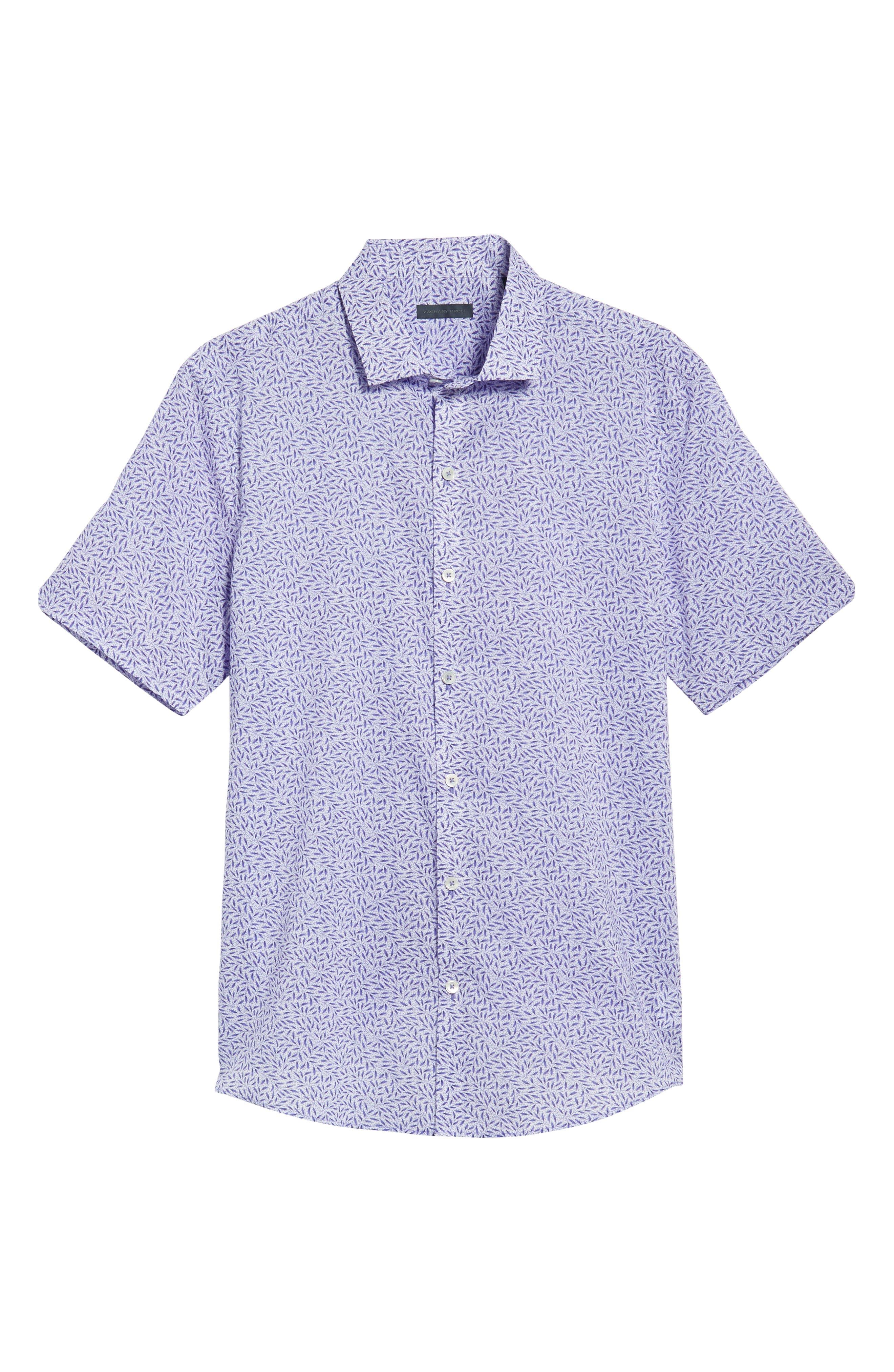 ZACHARY PRELL, Stiller Regular Fit Sport Shirt, Alternate thumbnail 6, color, PURPLE