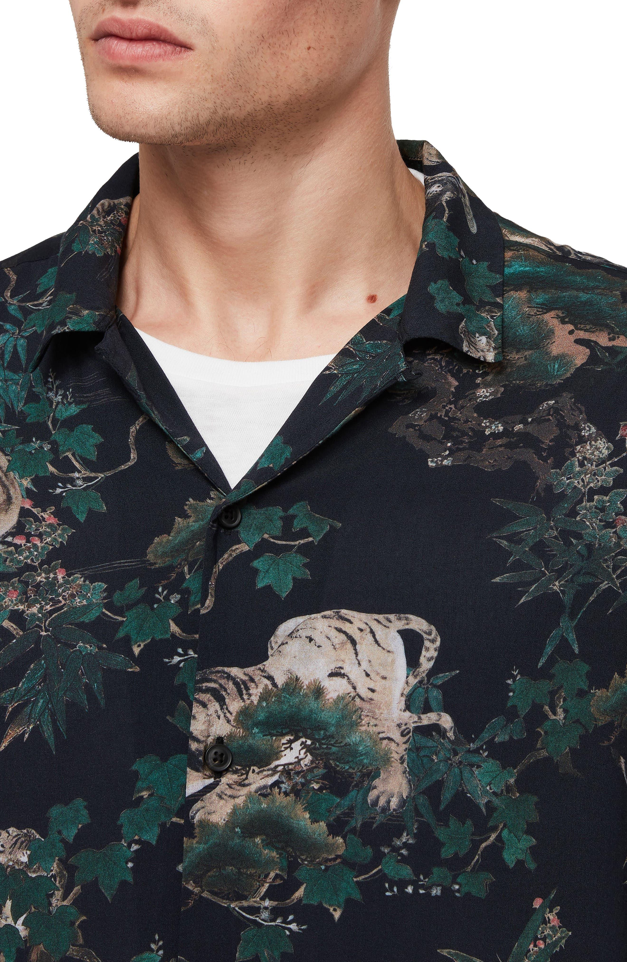 ALLSAINTS, Thicket Tiger Print Sport Shirt, Alternate thumbnail 2, color, 003