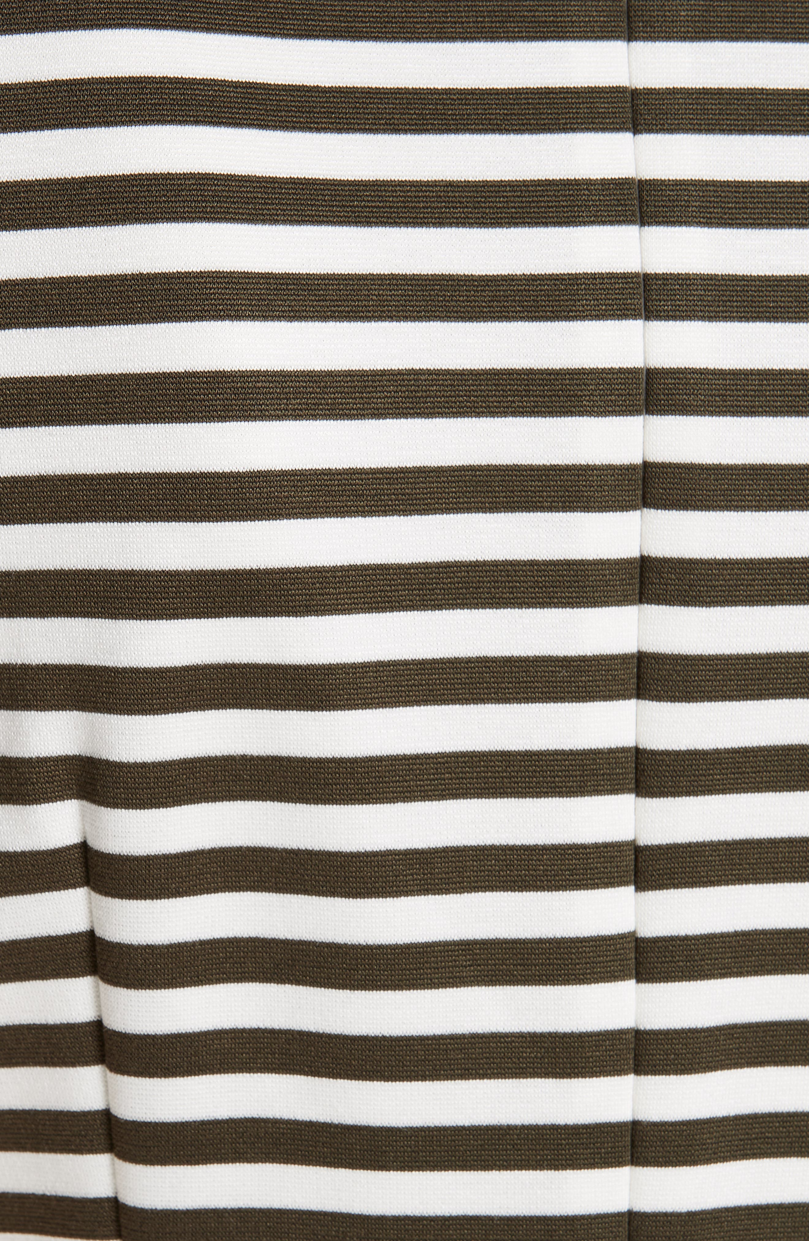 MAX MARA, Comica Stripe Dress, Alternate thumbnail 6, color, KAKI