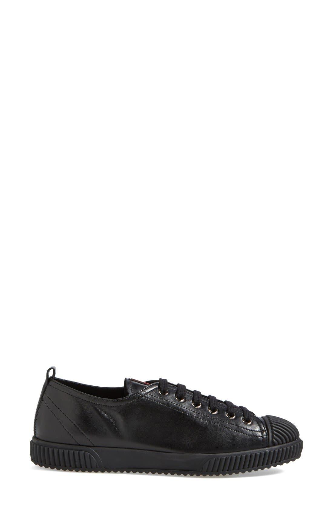PRADA, Cap Toe Sneaker, Alternate thumbnail 3, color, 001