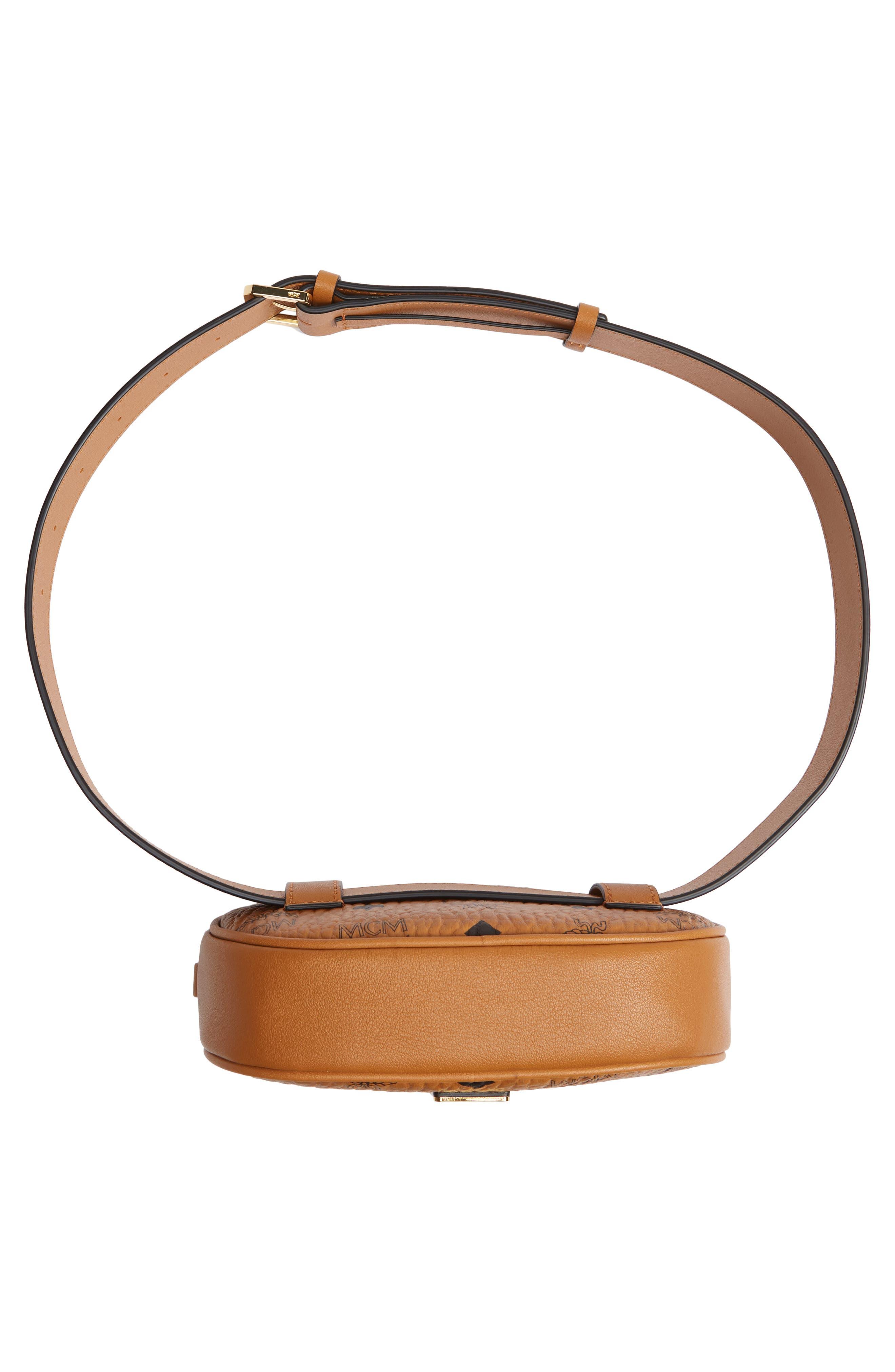 MCM, Essential Convertible Belt Bag, Alternate thumbnail 8, color, COGNAC