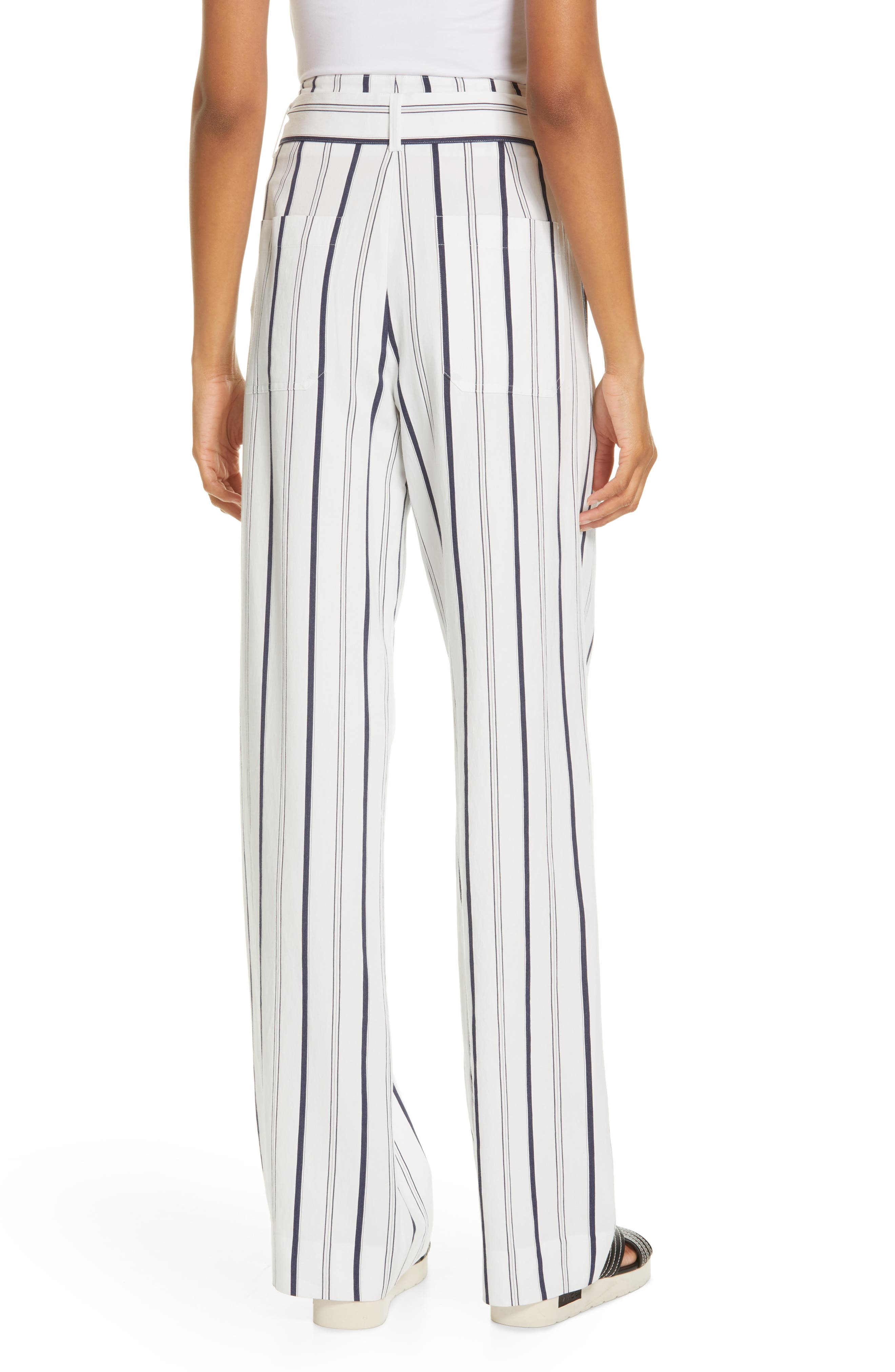 VINCE, Belted Stripe Pants, Alternate thumbnail 2, color, OFF WHITE