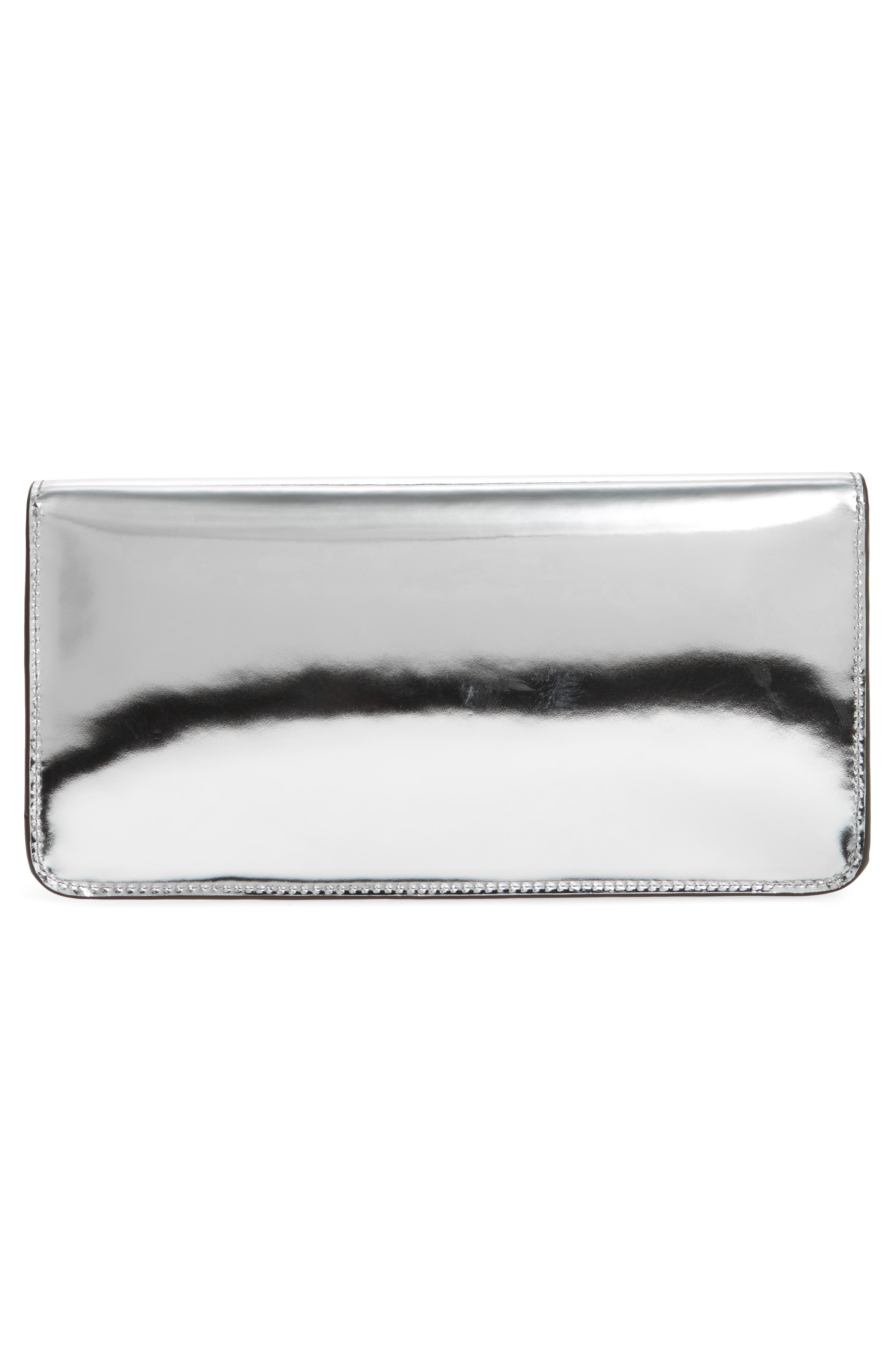 TORY BURCH, Kira Leather Envelope Clutch, Alternate thumbnail 4, color, MIRROR METALLIC SILVER