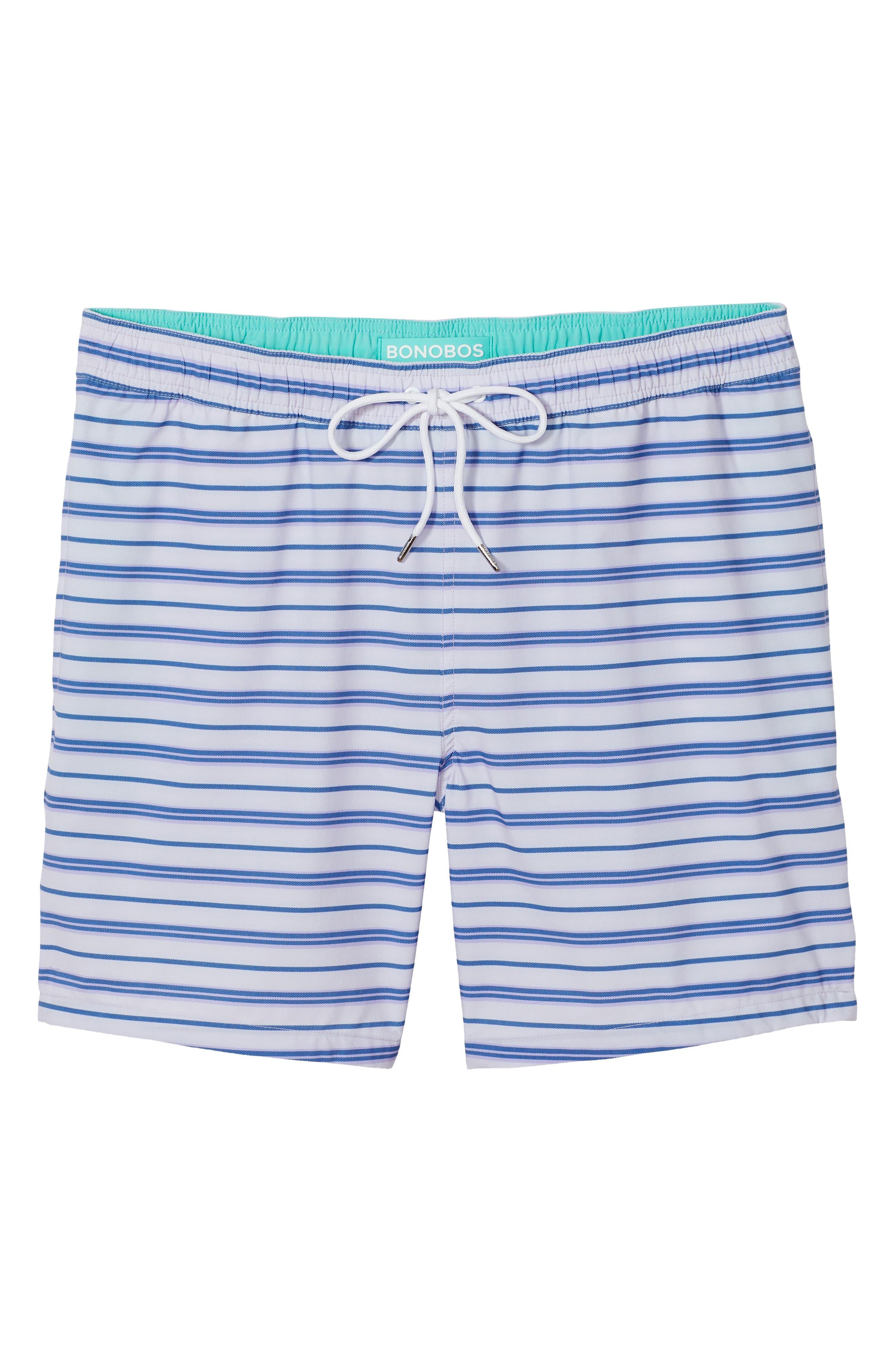 BONOBOS, Banzai 7-Inch Stripe E-Waist Swim Trunks, Alternate thumbnail 3, color, PURPLE STRIPE