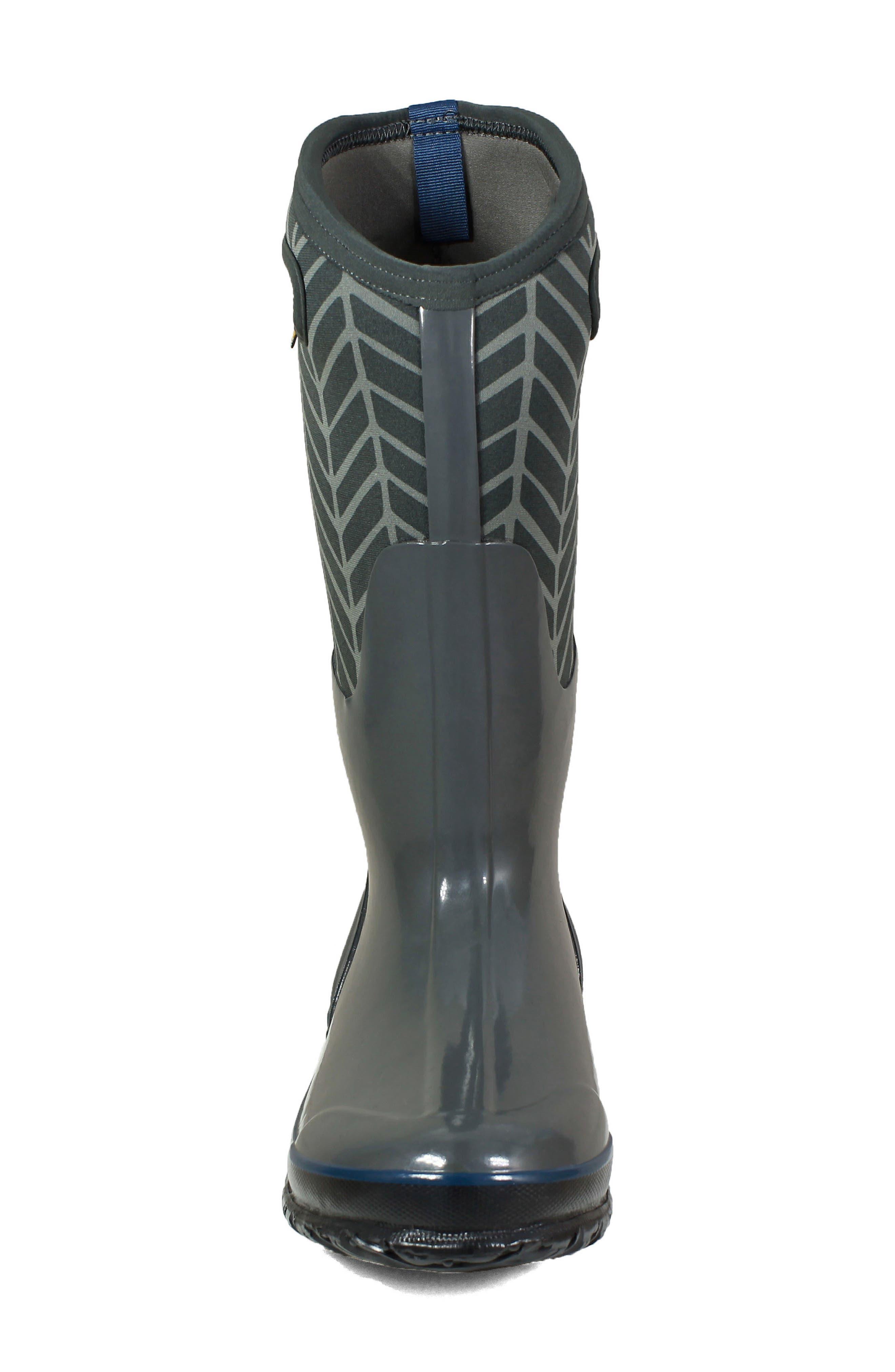 BOGS, Classic Tall Badge Waterproof Snow Boot, Alternate thumbnail 4, color, DARK GREY MULTI