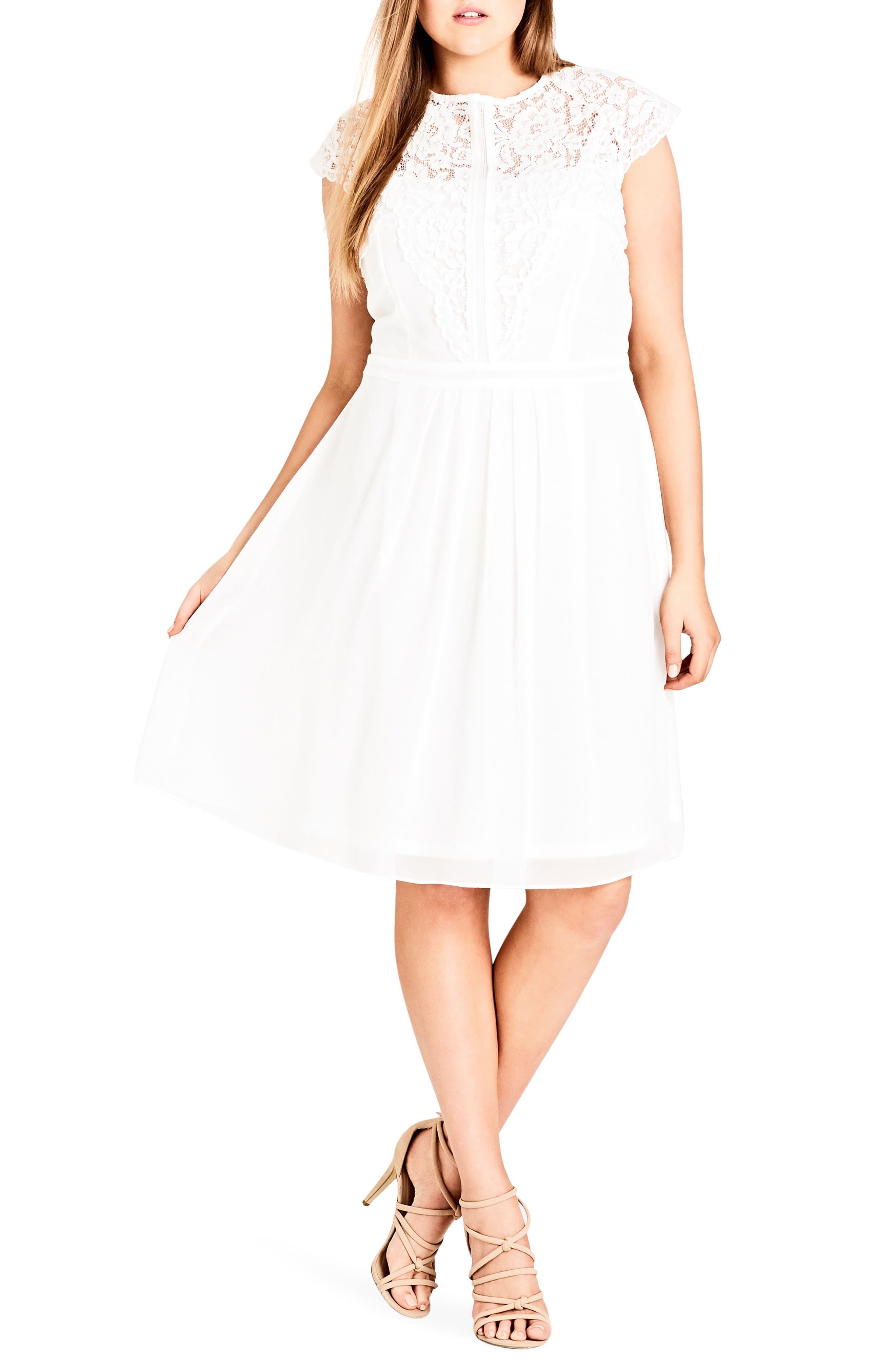 Plus Size City Chic Lace & Chiffon Dress, Ivory