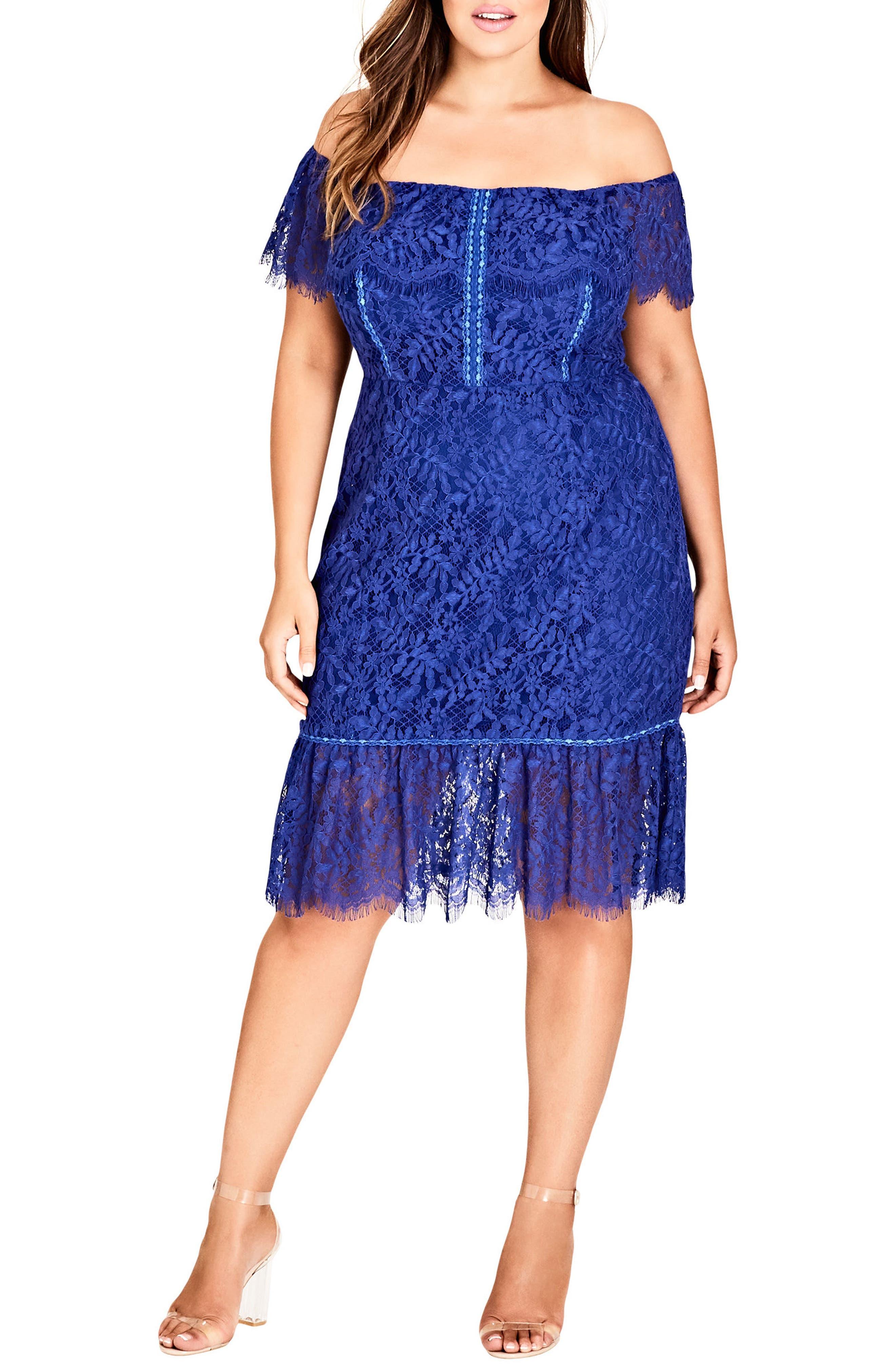 Plus Size City Chic Devotion Off The Shoulder Lace Dress, Blue