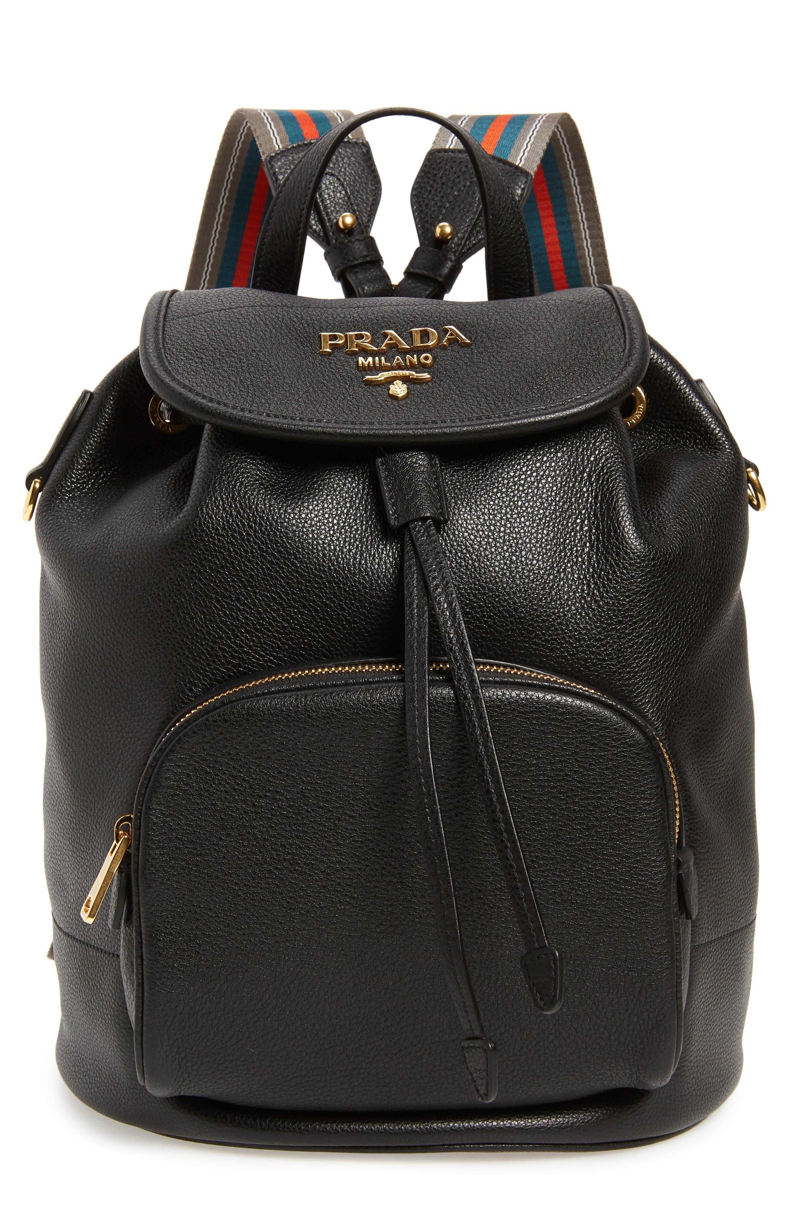 PRADA, Vitello Daino Pebbled Leather Backpack, Main thumbnail 1, color, 001