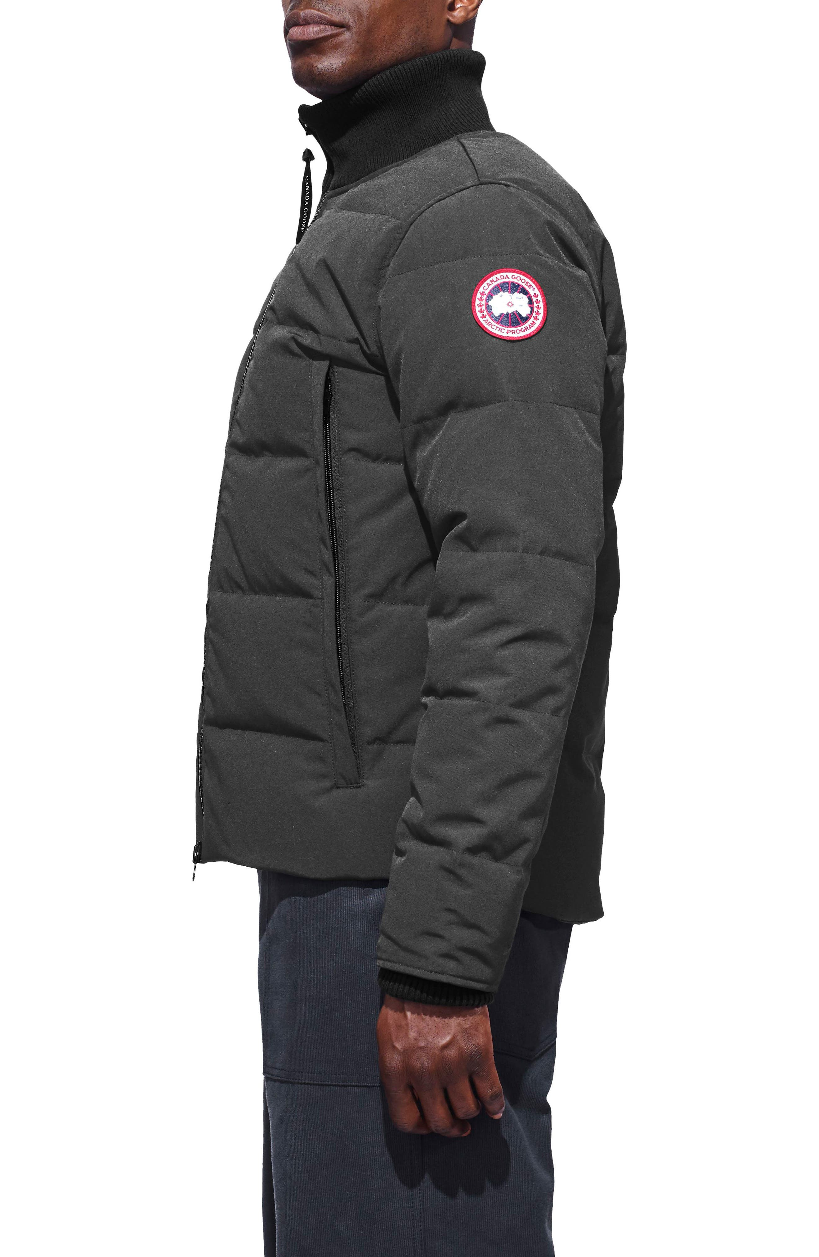 CANADA GOOSE, 'Woolford' Slim Fit Down Bomber Jacket, Alternate thumbnail 4, color, GRAPHITE