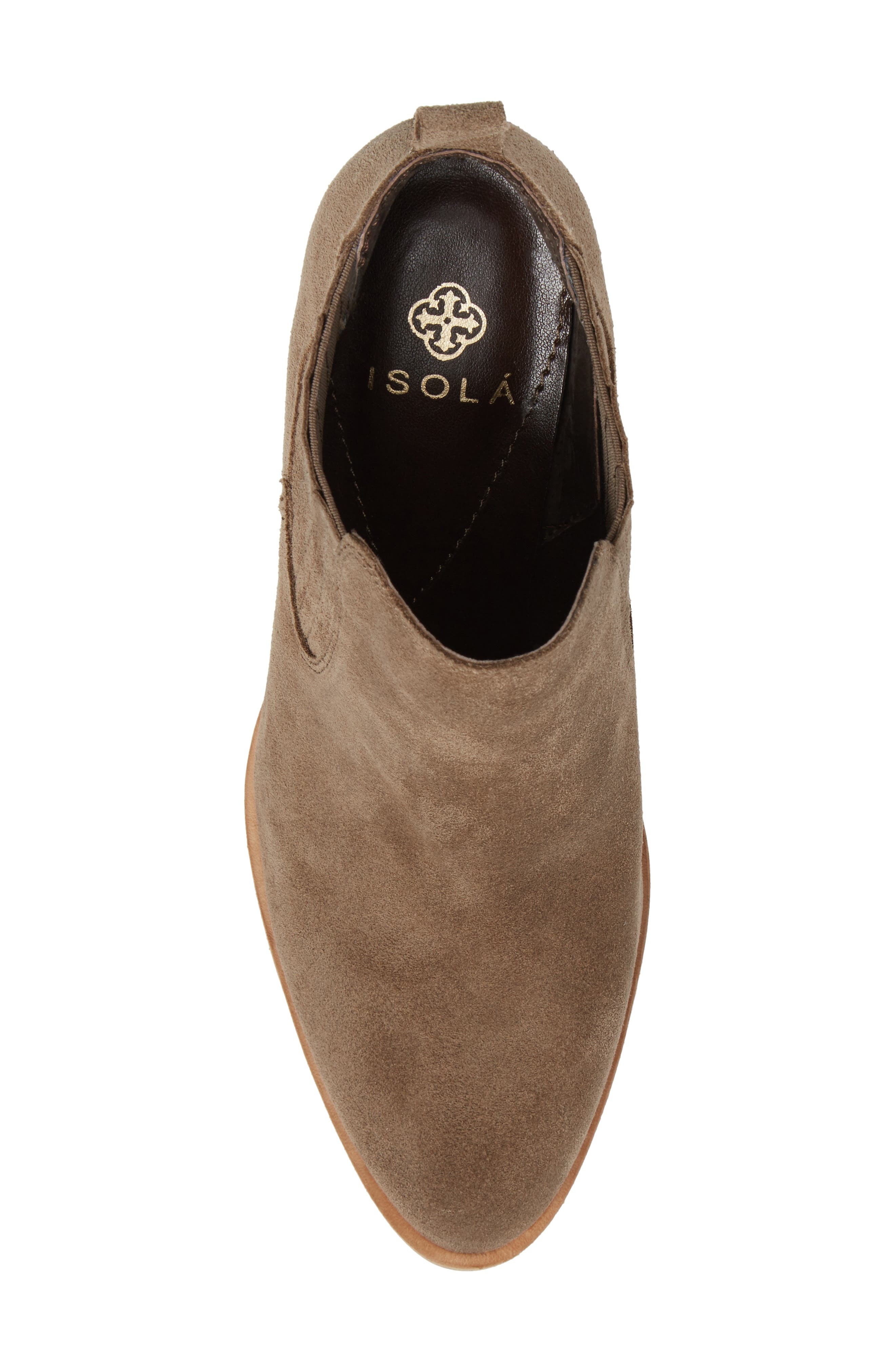 ISOLÁ, Olicia Gored Bootie, Alternate thumbnail 5, color, MARMOTTA LIGHT GREY SUEDE