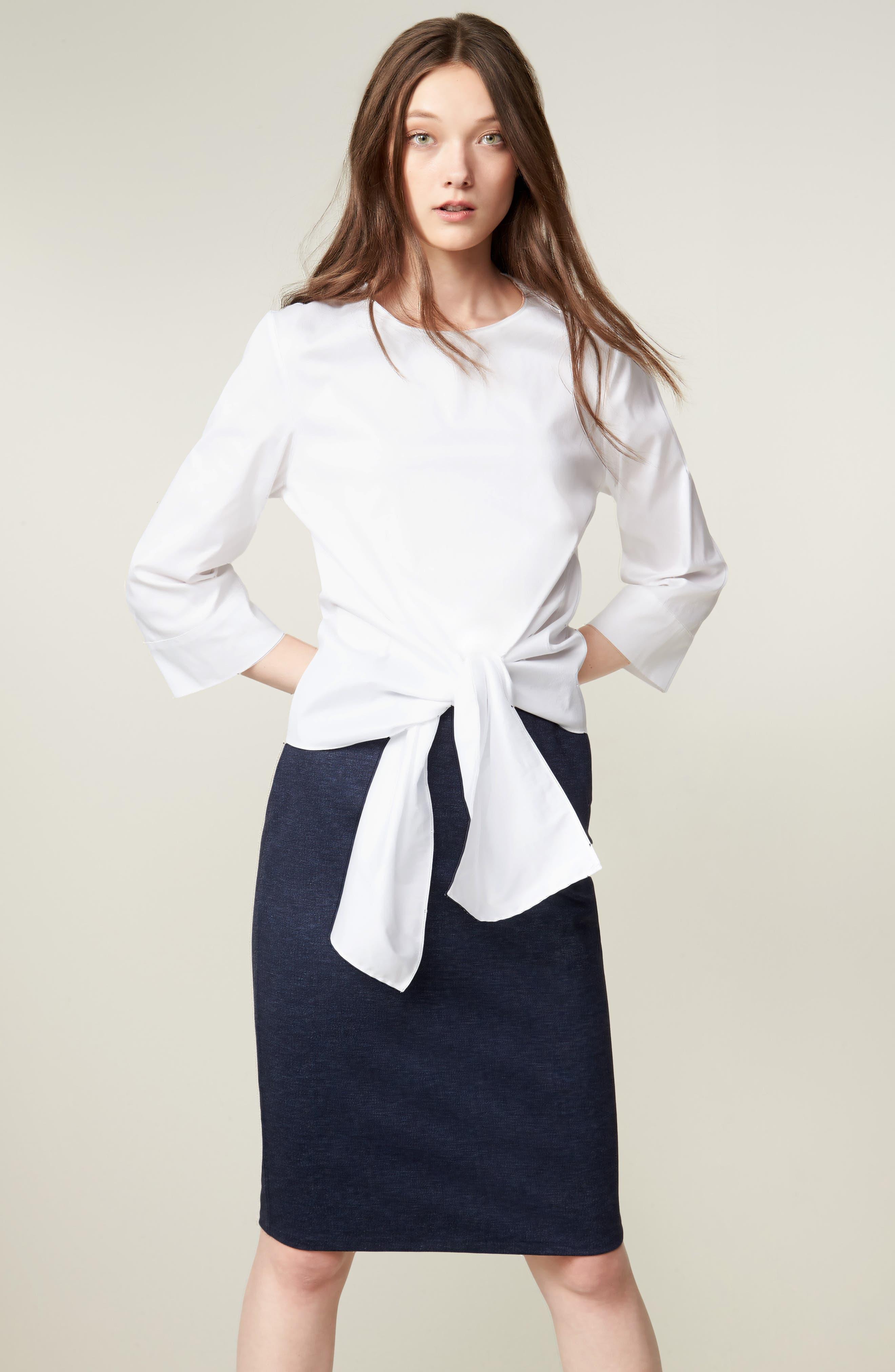 HALOGEN<SUP>®</SUP>, Knit Pencil Skirt, Alternate thumbnail 7, color, INDIGO