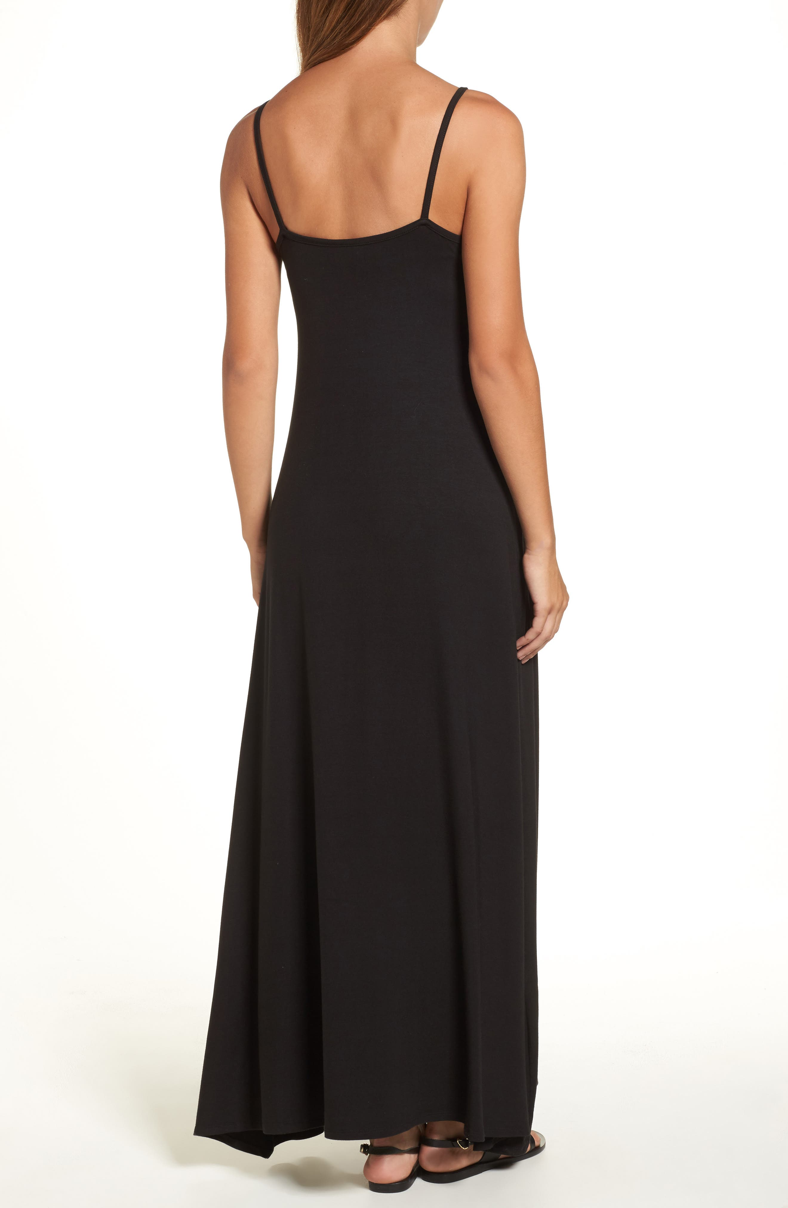 LOVEAPPELLA, Knit Maxi Dress, Alternate thumbnail 2, color, BLACK