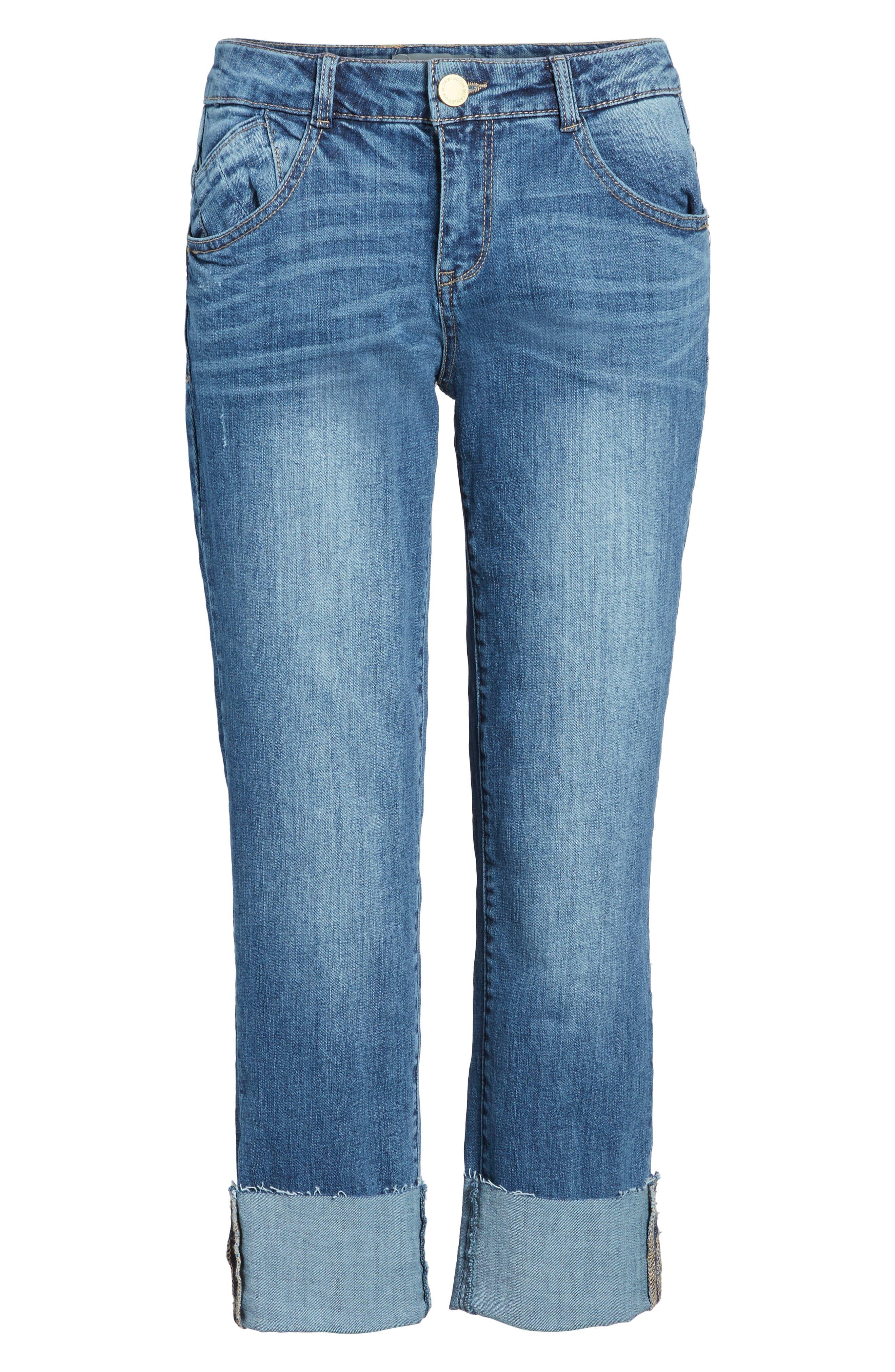 WIT & WISDOM, Flex-ellent Cuffed Boyfriend Jeans, Alternate thumbnail 7, color, BLUE