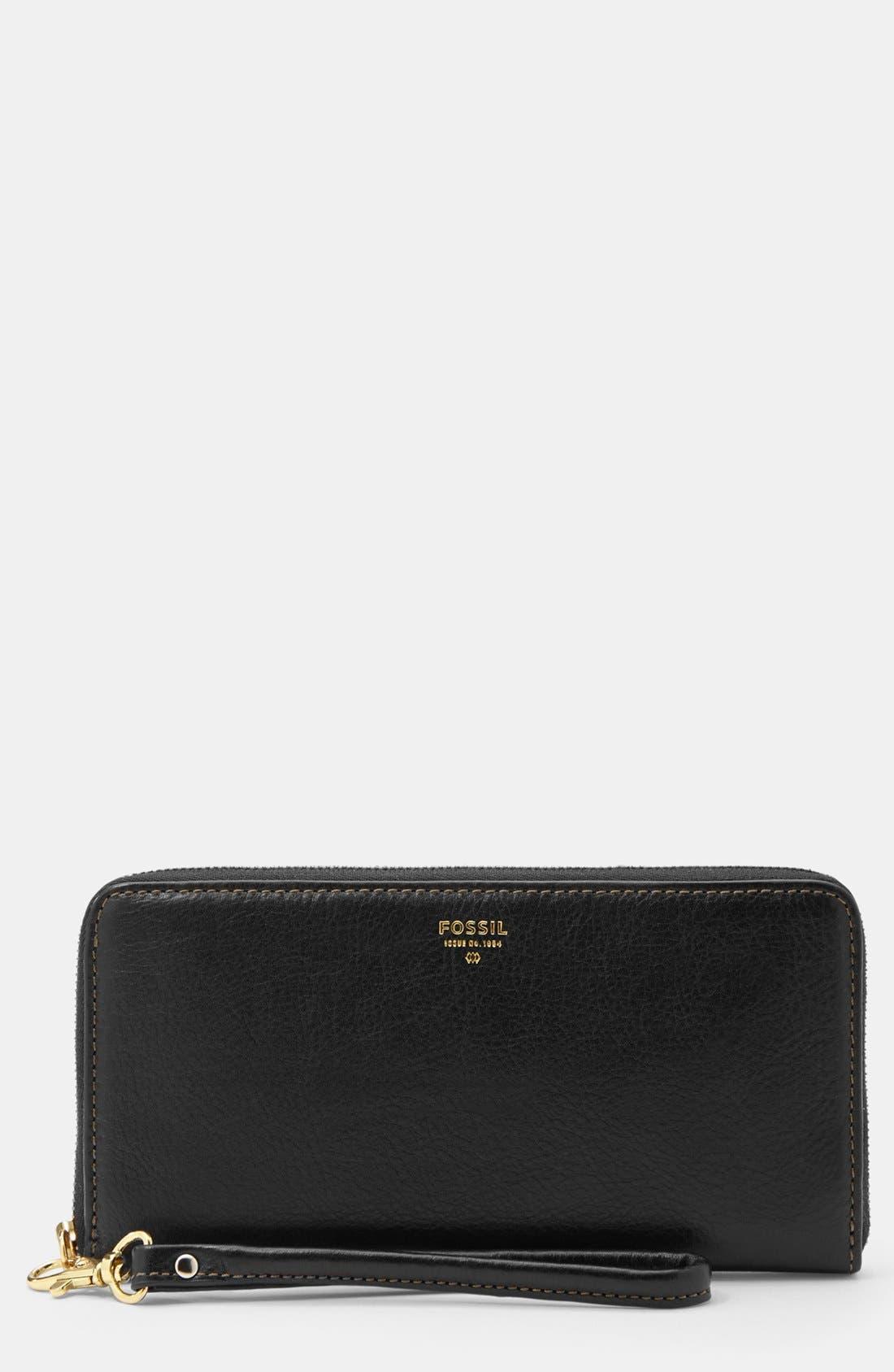 FOSSIL, 'Sydney' Zip Clutch Wallet, Main thumbnail 1, color, 001