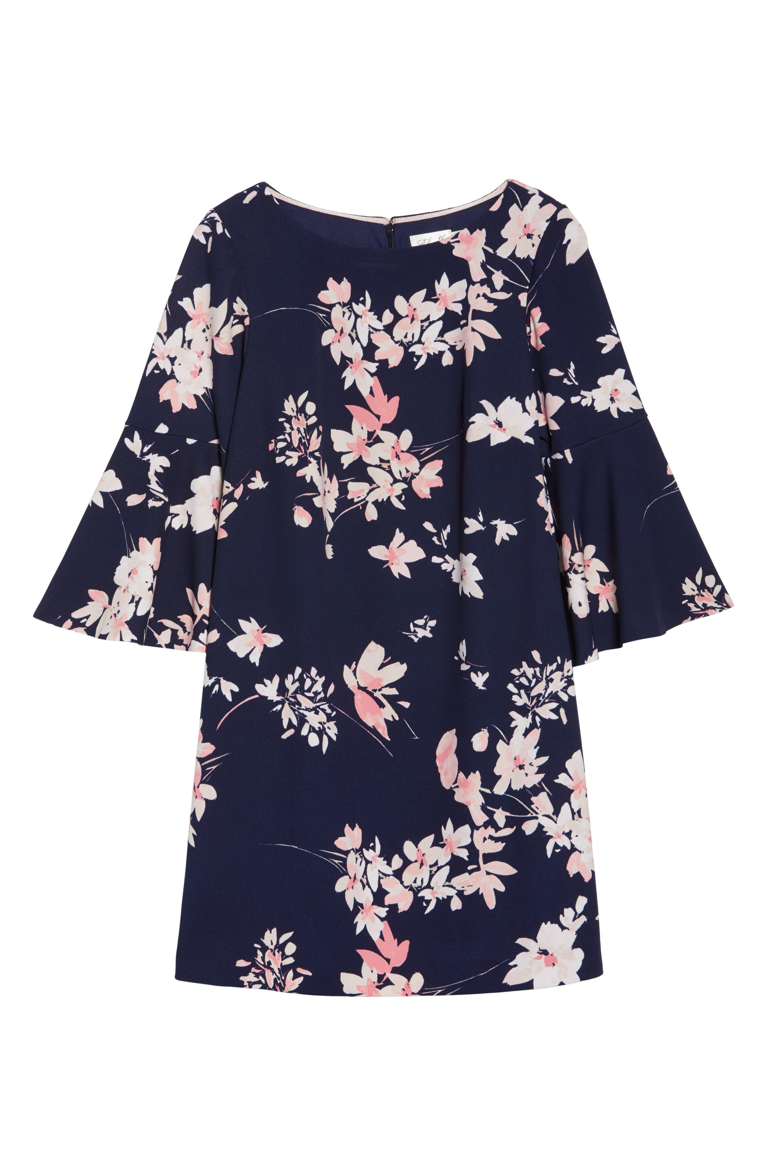 ELIZA J, Floral Print Bell Sleeve Shift Dress, Alternate thumbnail 6, color, NAVY/ PINK