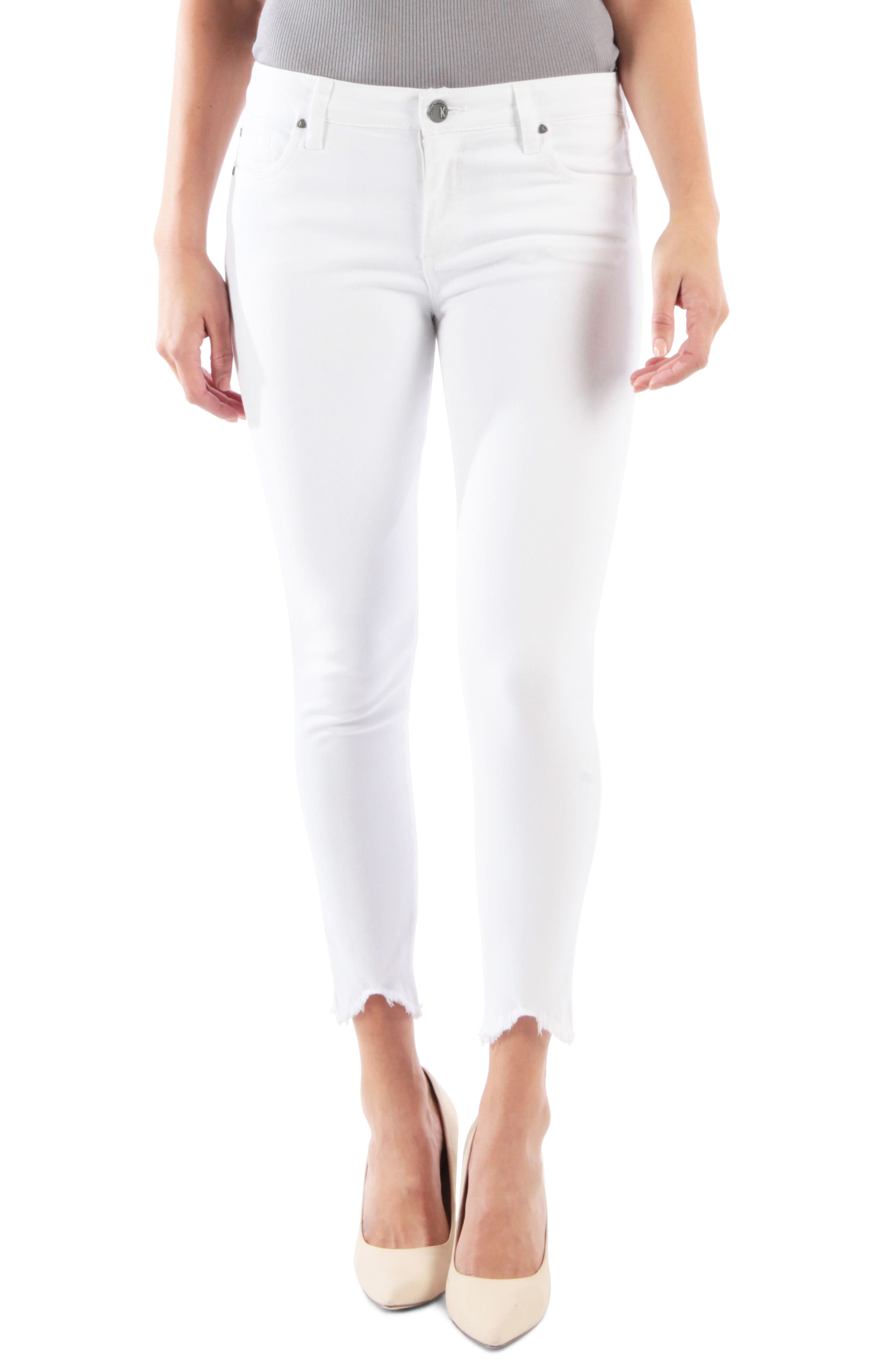 KUT FROM THE KLOTH, Connie Ankle Skinny Jeans, Main thumbnail 1, color, OPTIC WHITE