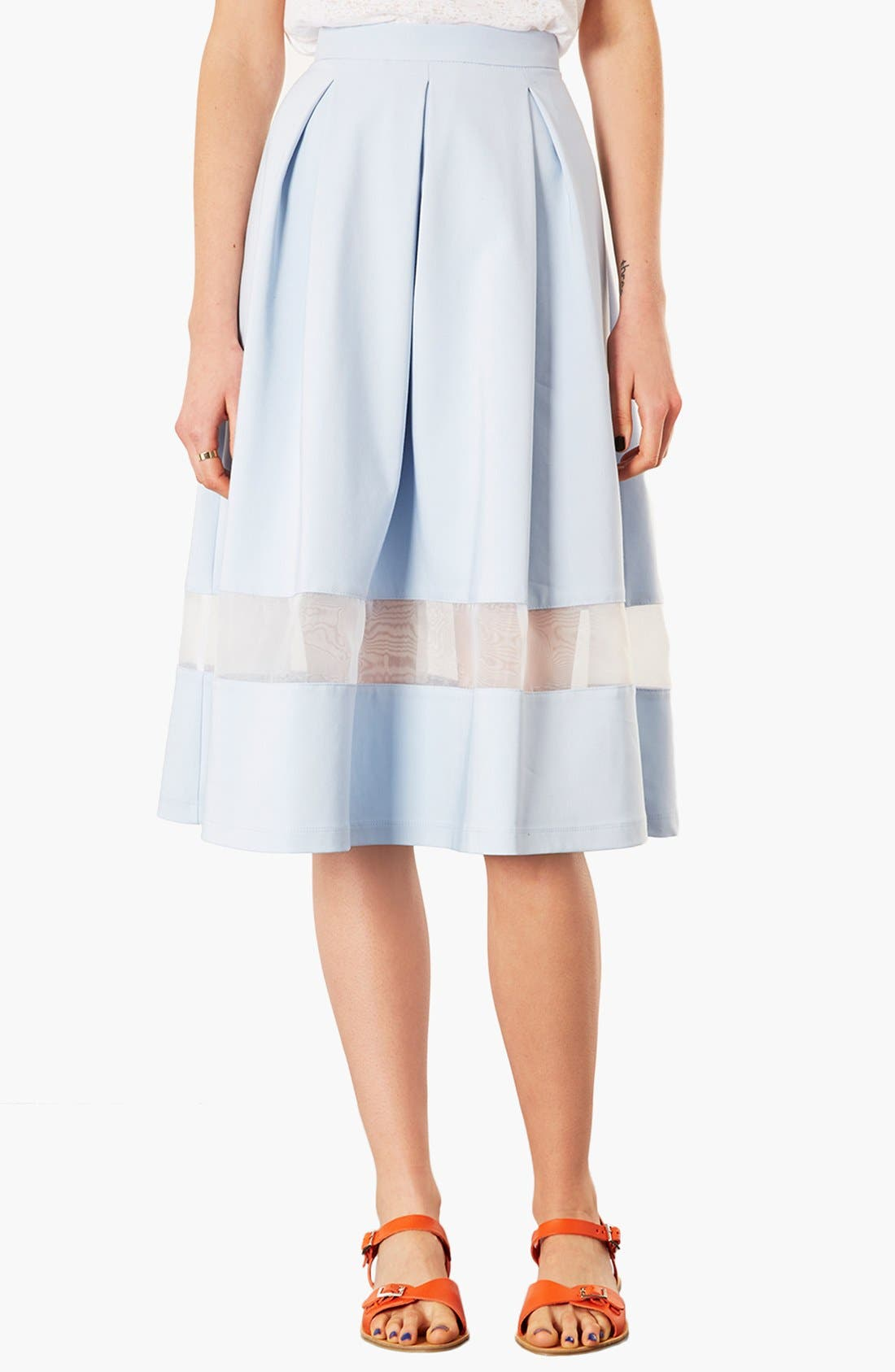 TOPSHOP Organza Stripe Skirt, Main, color, 450