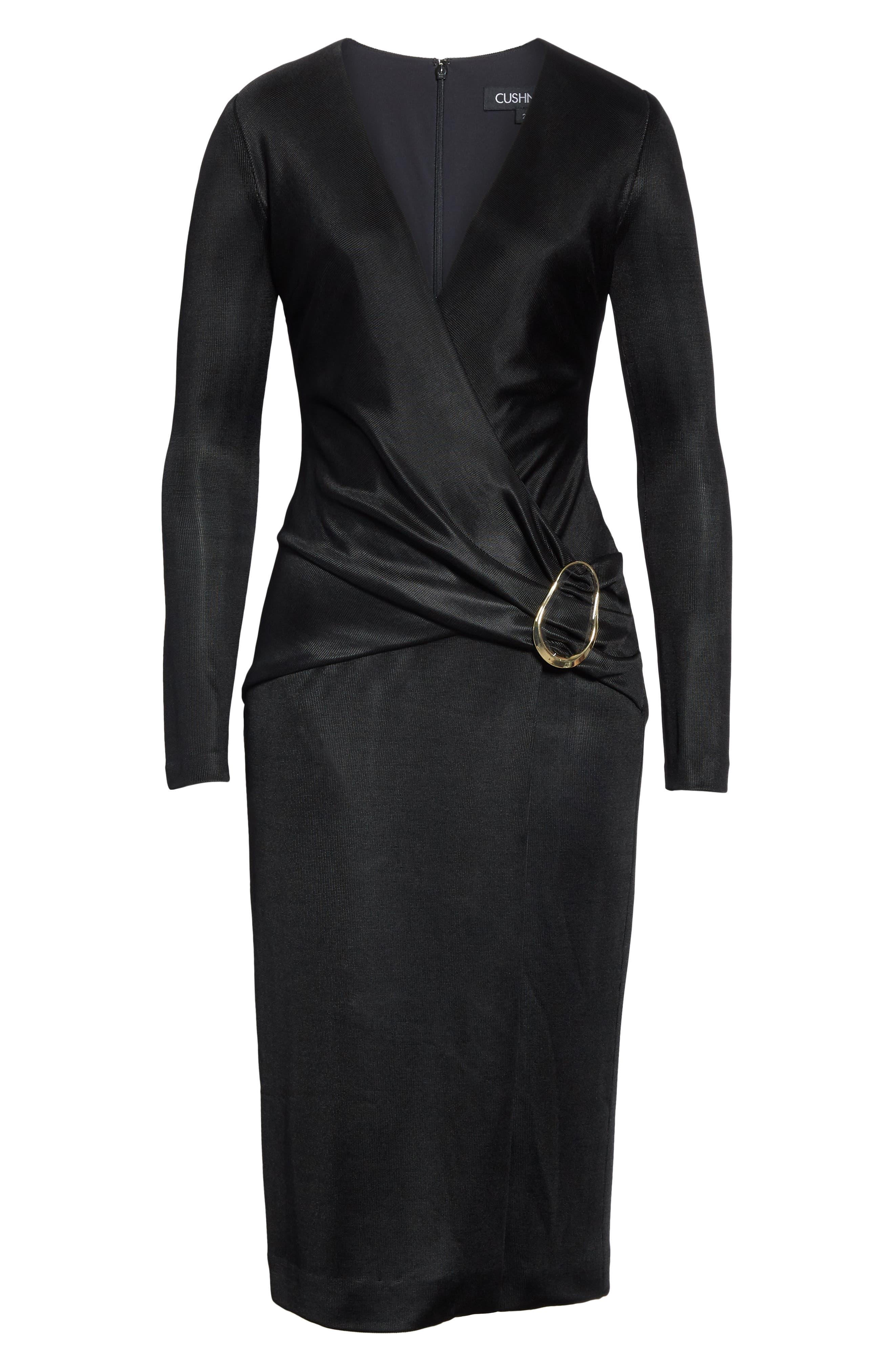 CUSHNIE, Sahara Pencil Dress, Alternate thumbnail 7, color, BLACK