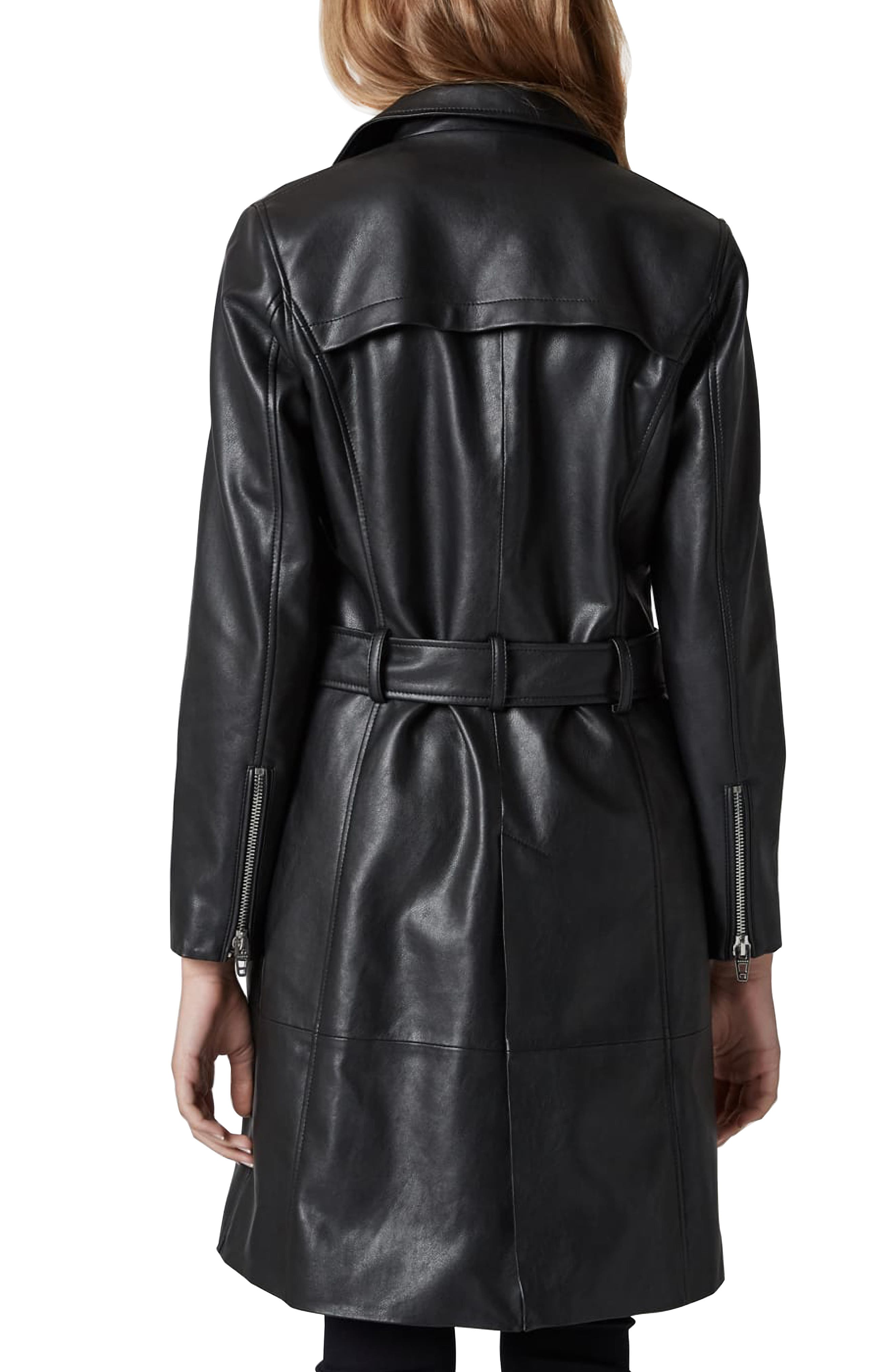 BLANKNYC, Faux Leather Trench Coat, Alternate thumbnail 2, color, PUNISHER