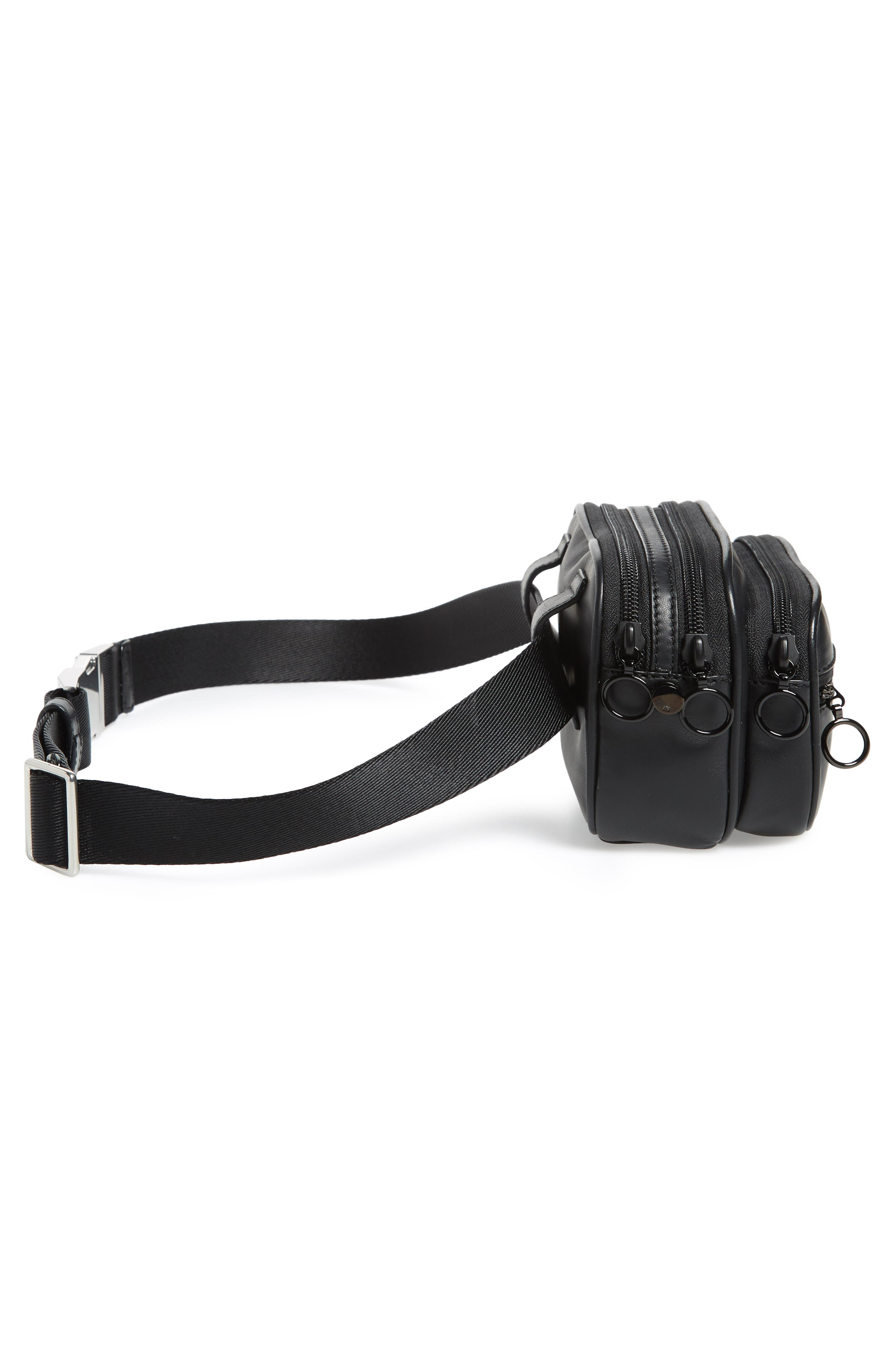 ALEXANDER WANG, Attica Logo Leather Belt Bag, Alternate thumbnail 7, color, BLACK