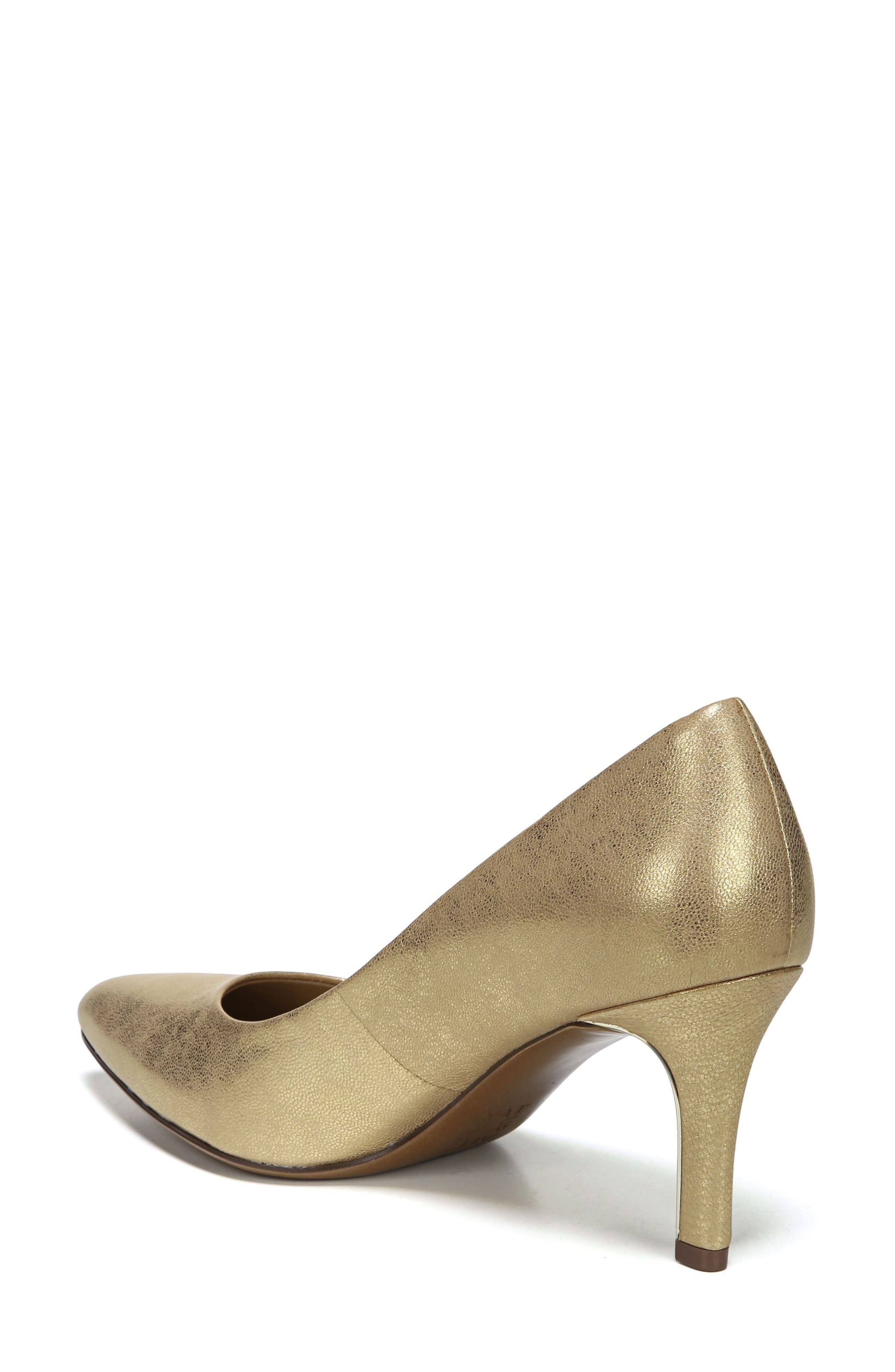 NATURALIZER, Natalie Pointy Toe Pump, Alternate thumbnail 2, color, GOLD LEATHER