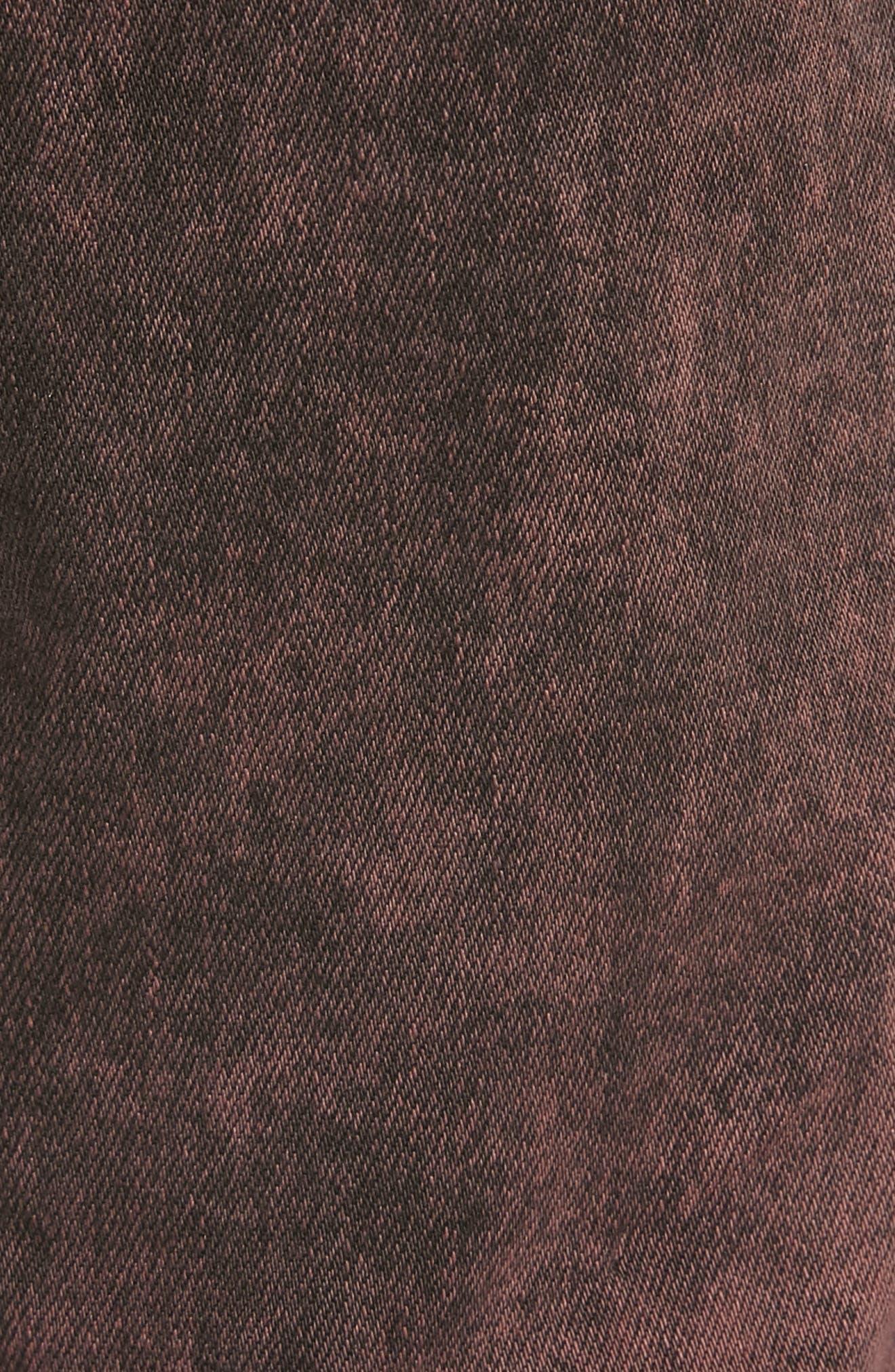 HUDSON JEANS, Blinder Biker Skinny Fit Jeans, Alternate thumbnail 5, color, FADED OX BLOOD
