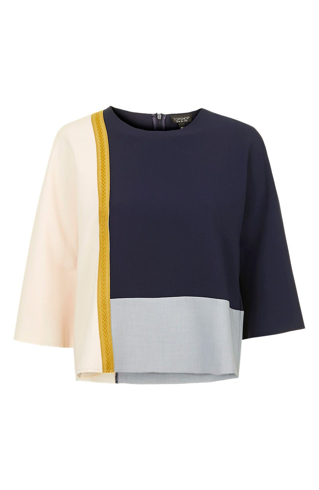 TOPSHOP, Colorblock Boxy Top, Alternate thumbnail 4, color, 410
