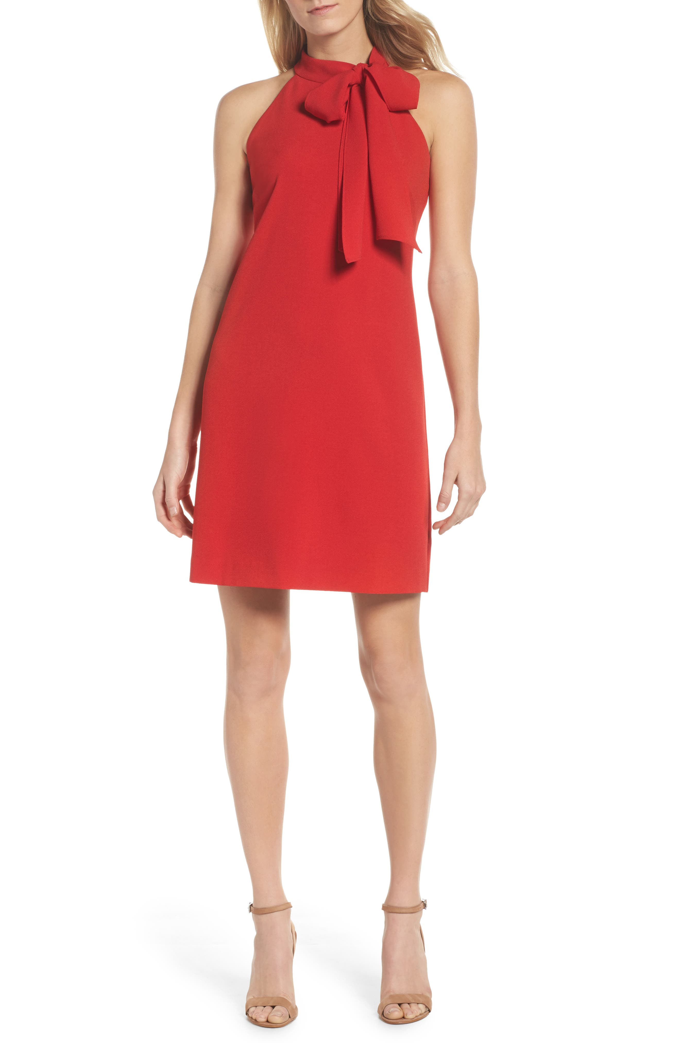 VINCE CAMUTO, Halter Tie Neck A-Line Dress, Main thumbnail 1, color, RED