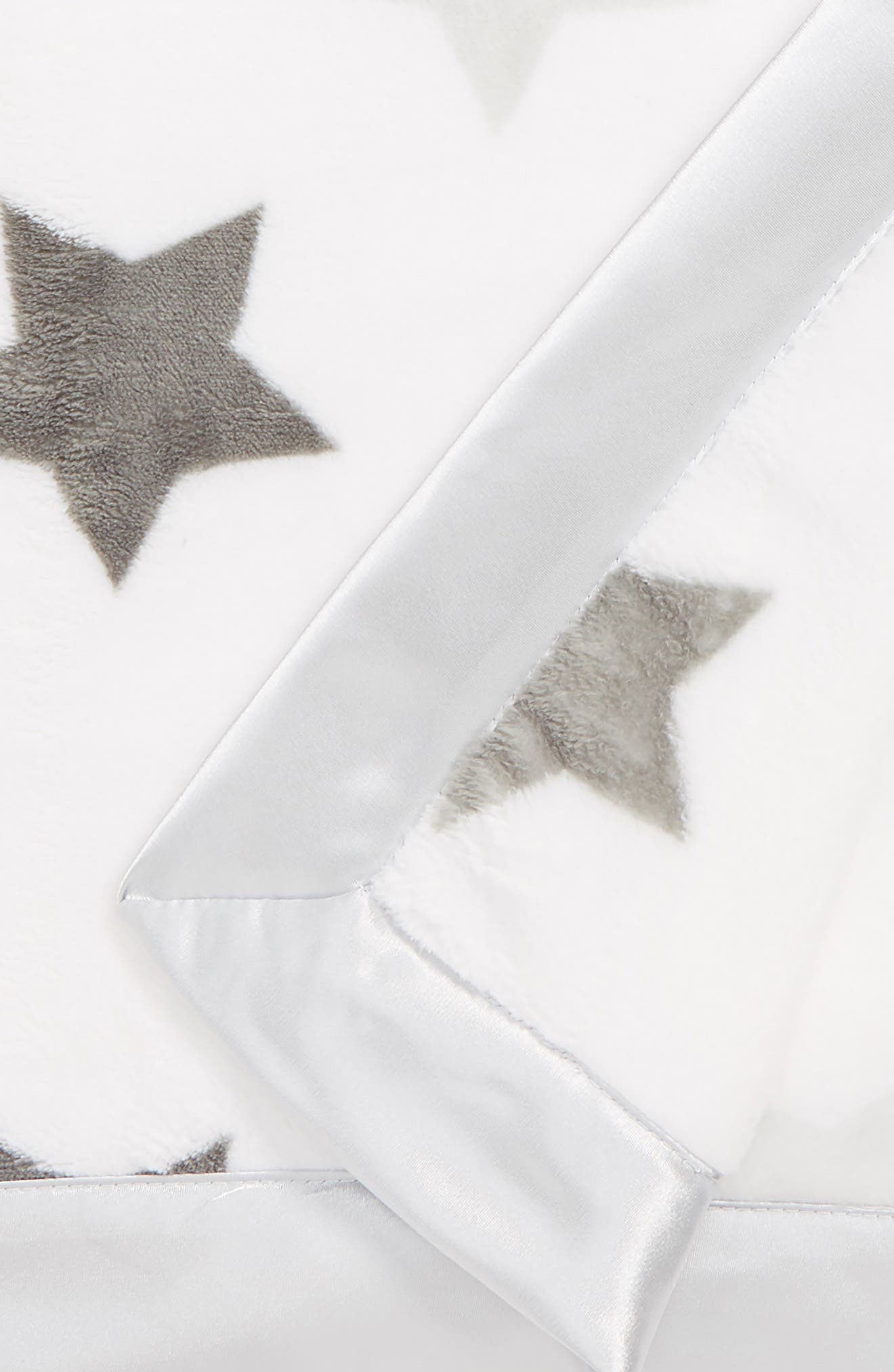 NORDSTROM BABY, Print Plush Blanket, Alternate thumbnail 2, color, GREY MICRO STARS