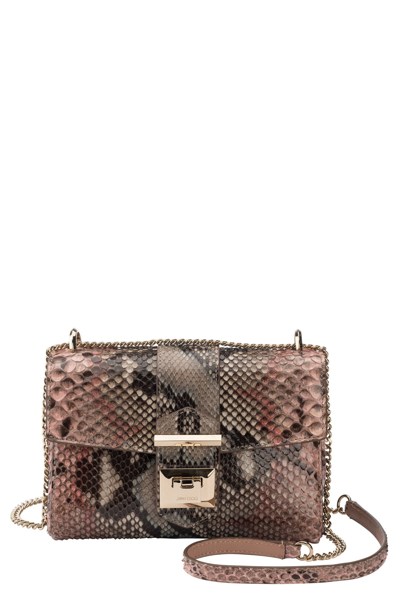JIMMY CHOO Marianne Genuine Python Crossbody Bag, Main, color, ROSEWOOD MIX