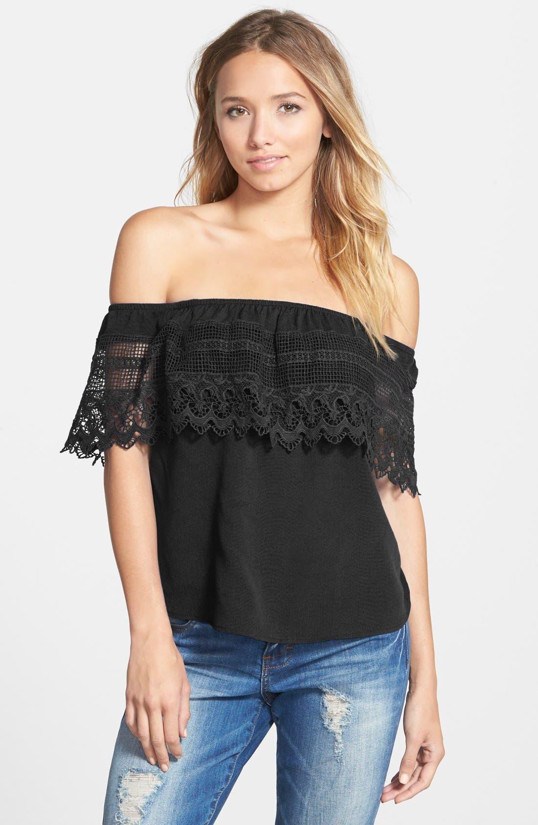 SOCIALITE Crochet Off the Shoulder Top, Main, color, 001