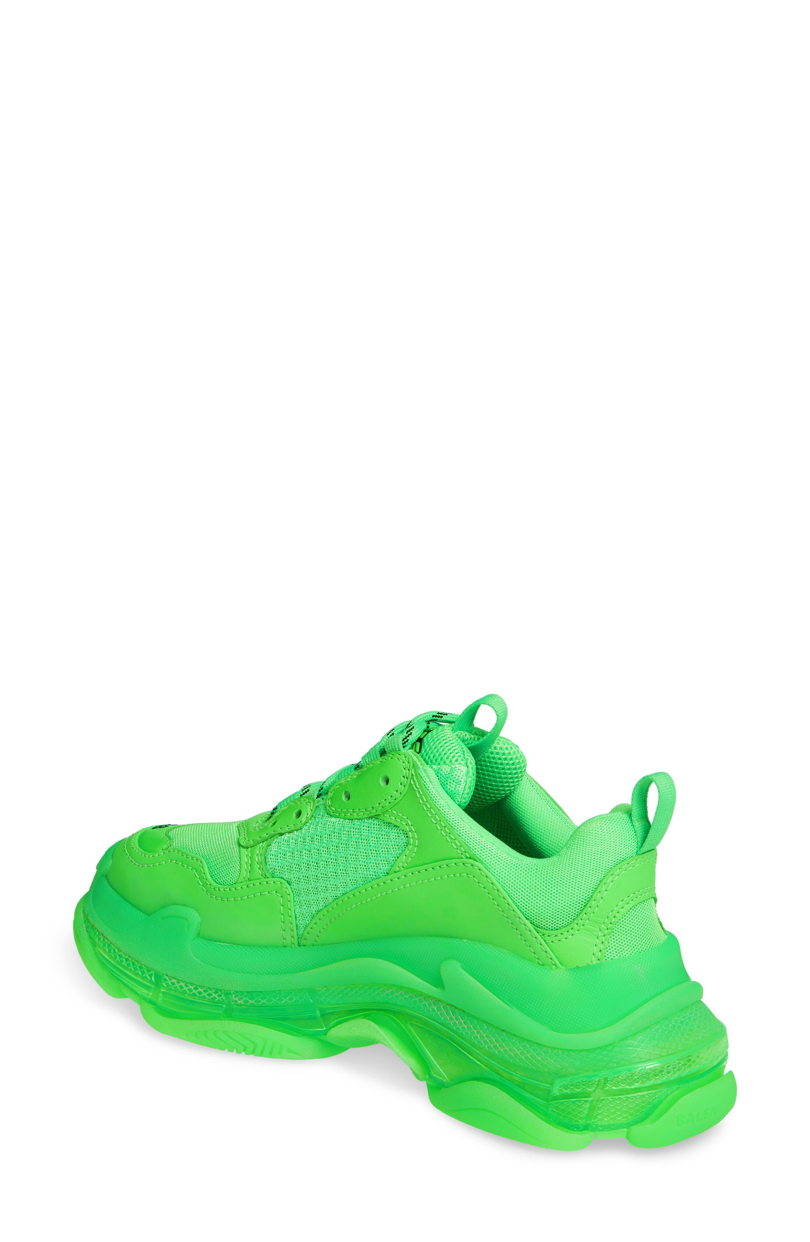 BALENCIAGA, Triple S Low Top Sneaker, Alternate thumbnail 2, color, GREEN FLUO