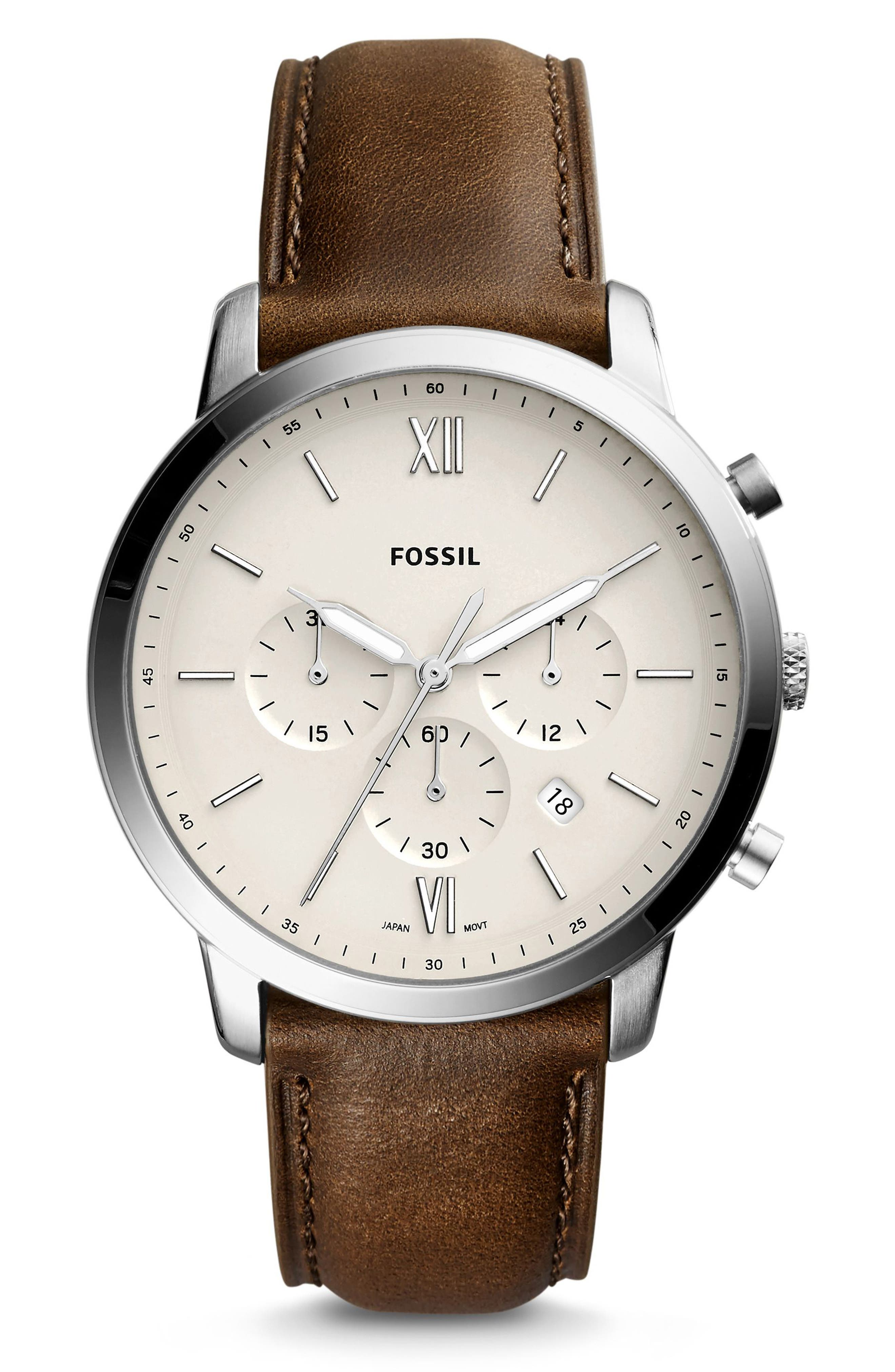 FOSSIL, Neutra Chronograph Leather Strap Watch, 44mm, Main thumbnail 1, color, BROWN/ BEIGE/ SILVER
