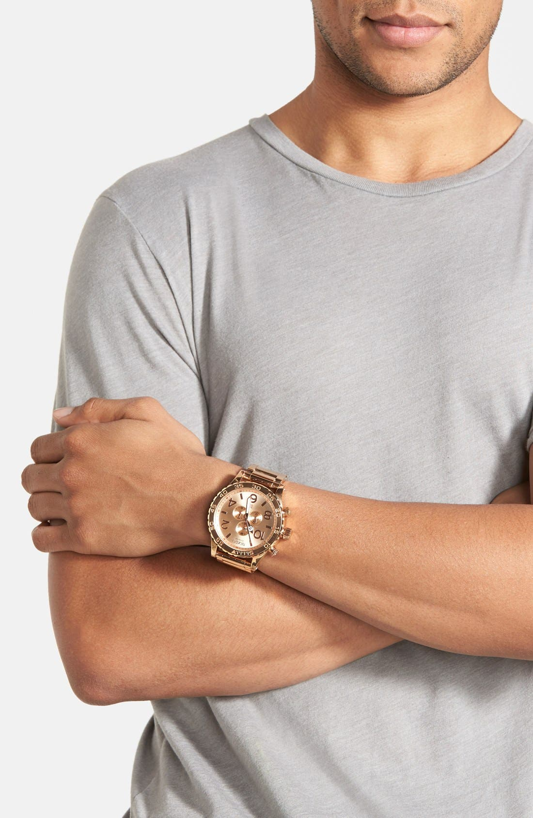 NIXON, 'The 51-30 Chrono' Watch, 51mm, Alternate thumbnail 2, color, ROSE GOLD