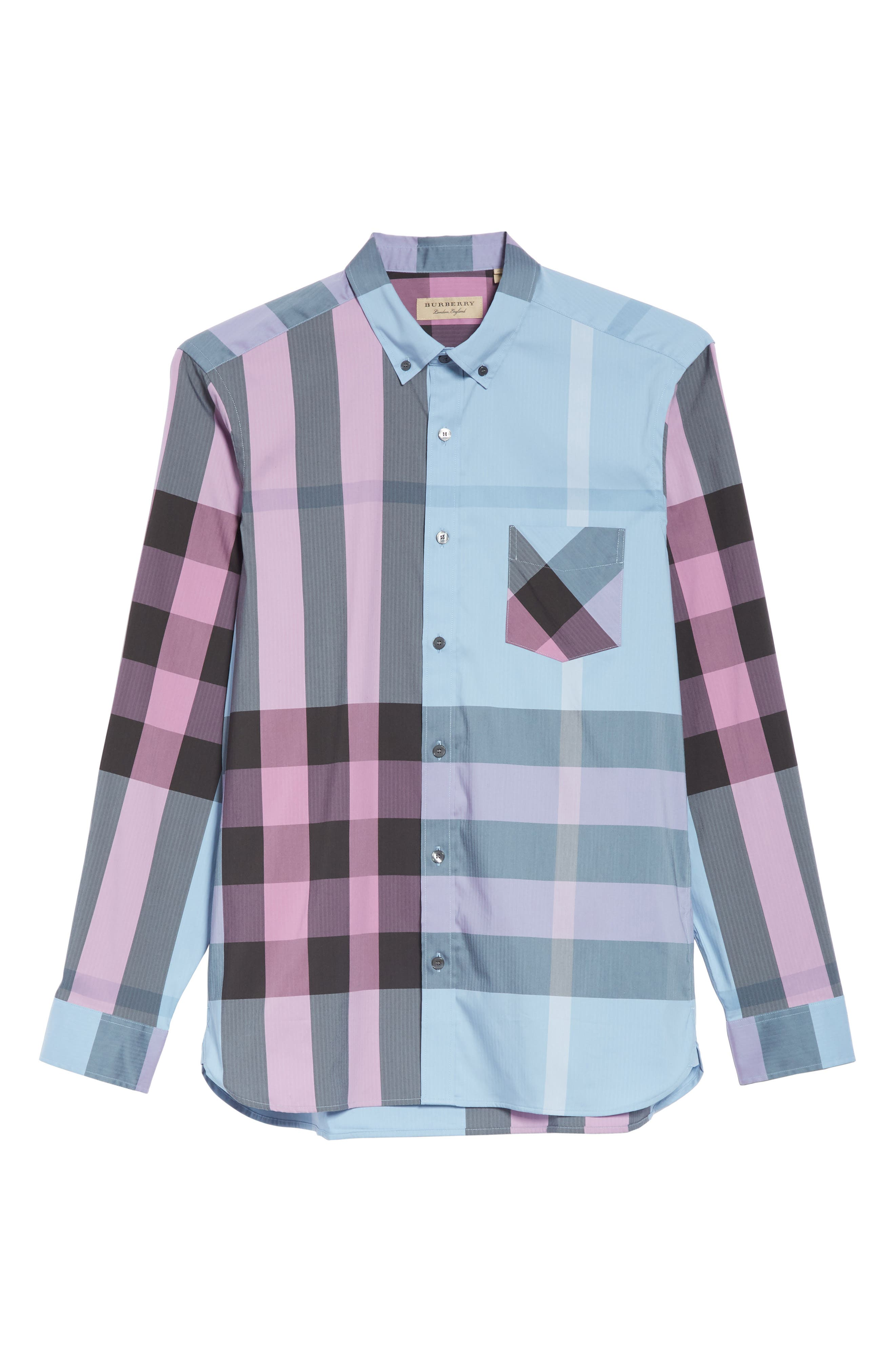 BURBERRY, Thornaby Slim Fit Check Sport Shirt, Alternate thumbnail 6, color, 400