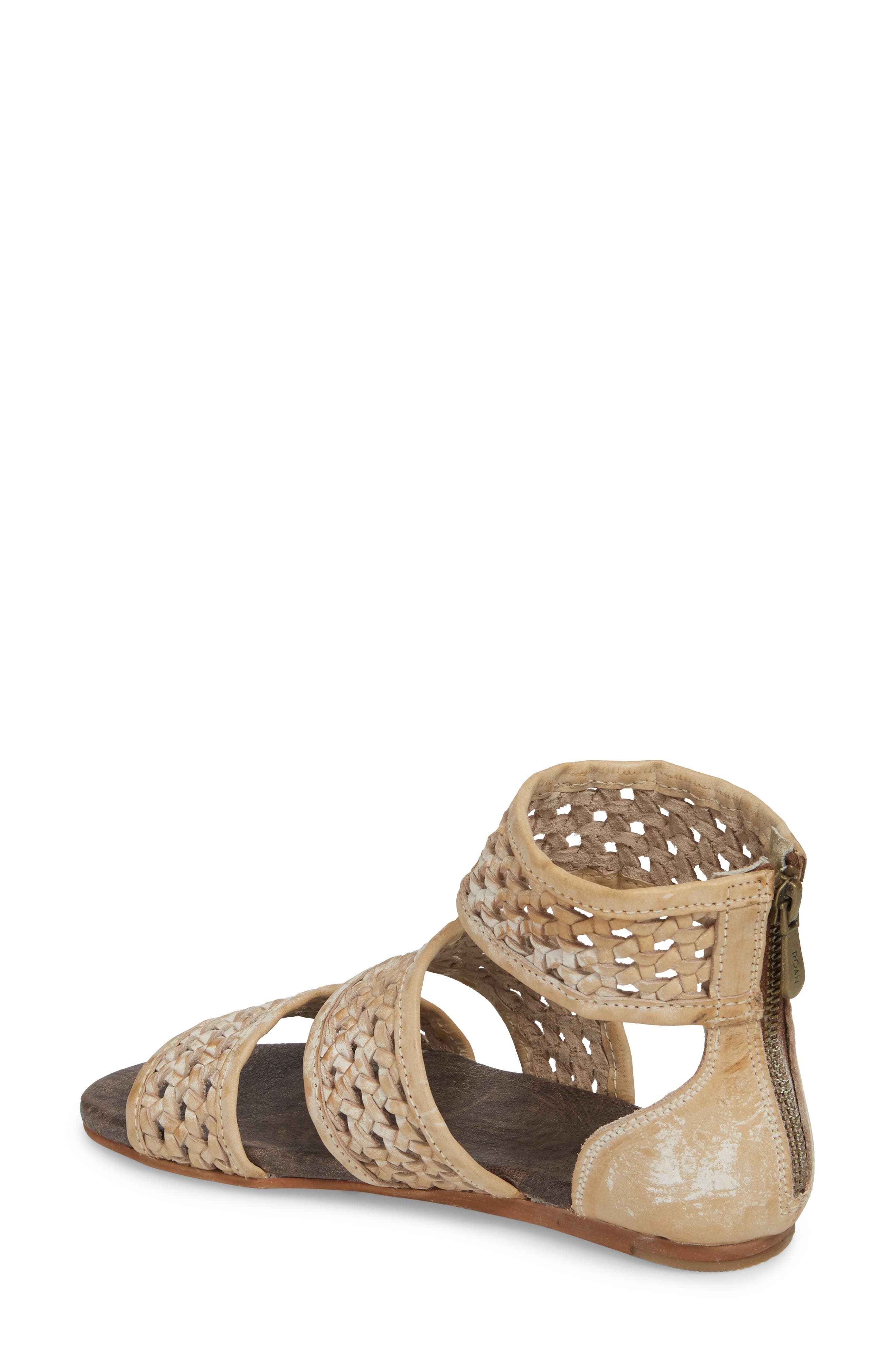 ROAN, Clio Woven Ankle Cuff Sandal, Alternate thumbnail 2, color, TAUPE