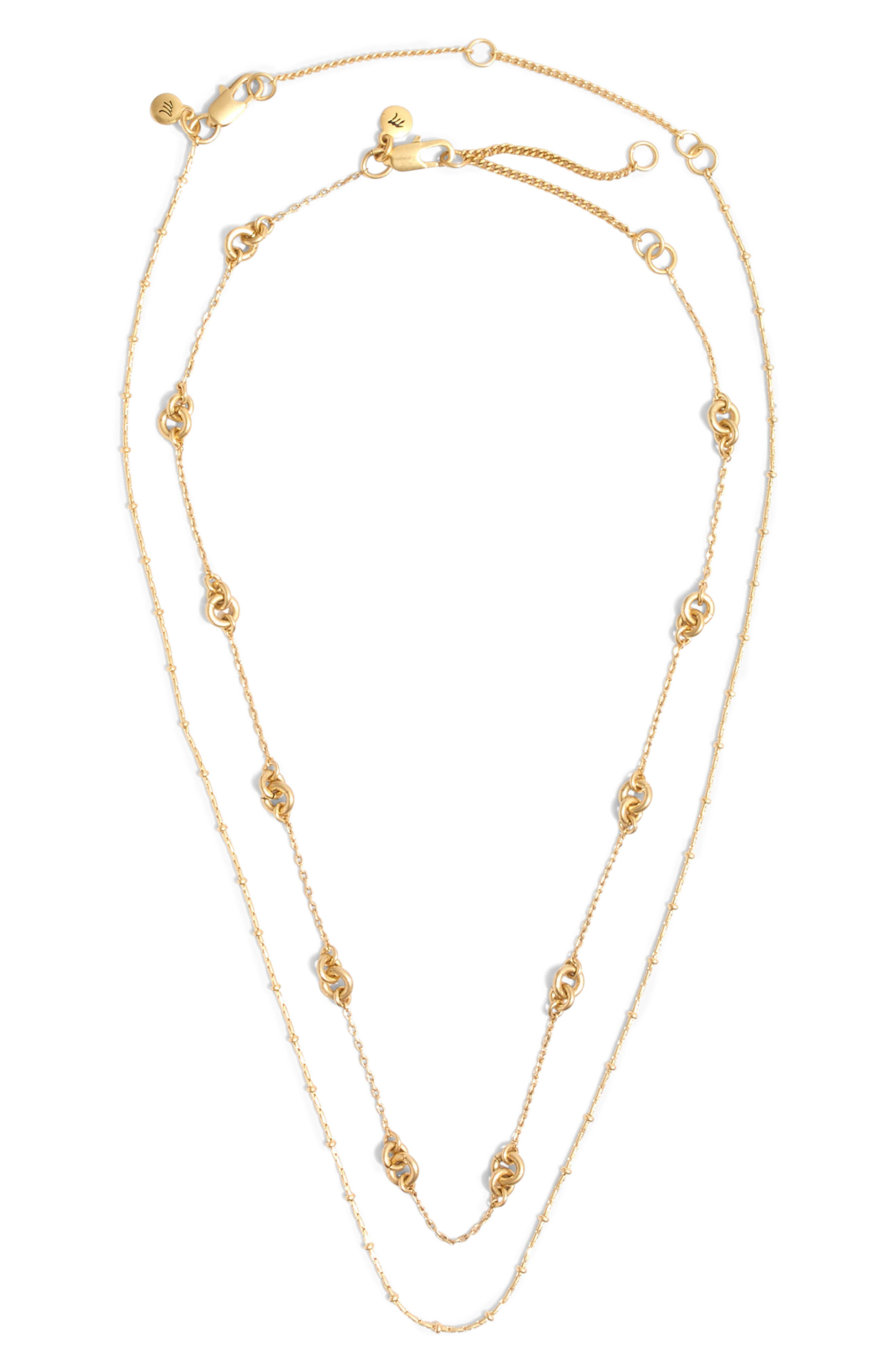 MADEWELL, Layered Chain Necklace, Alternate thumbnail 3, color, 710