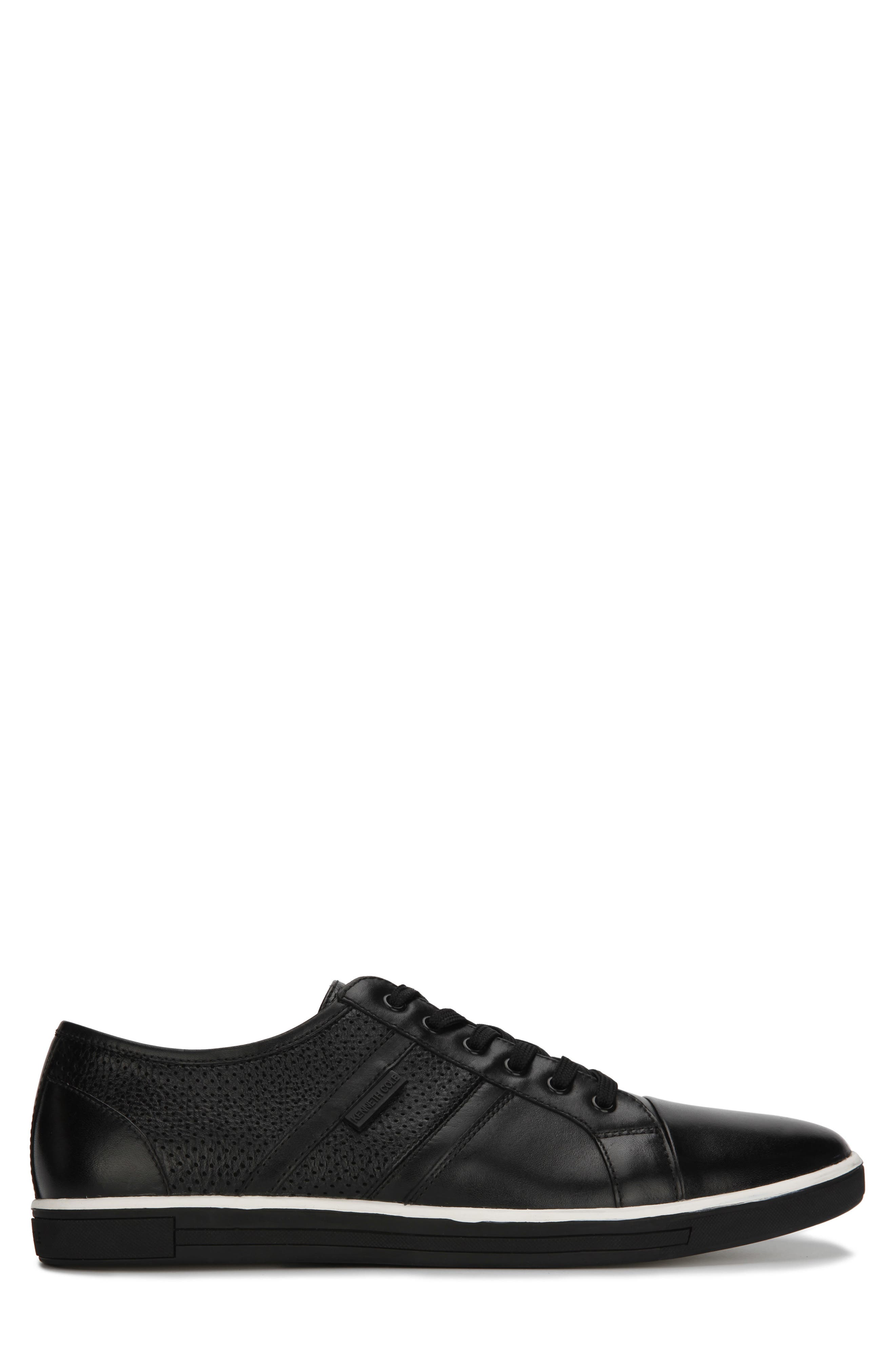 KENNETH COLE NEW YORK, Initial Step Sneaker, Alternate thumbnail 2, color, BLACK LEATHER