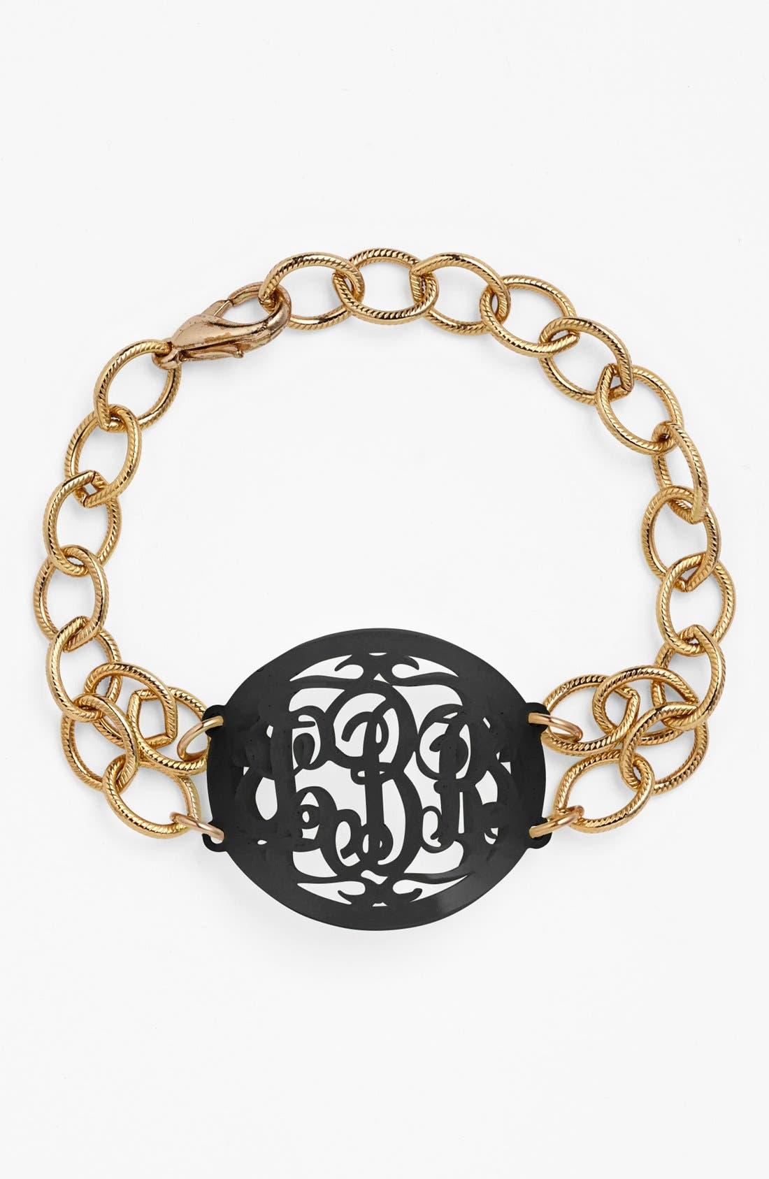 MOON AND LOLA, 'Annabel' Medium Oval Personalized Monogram Bracelet, Main thumbnail 1, color, EBONY/ GOLD