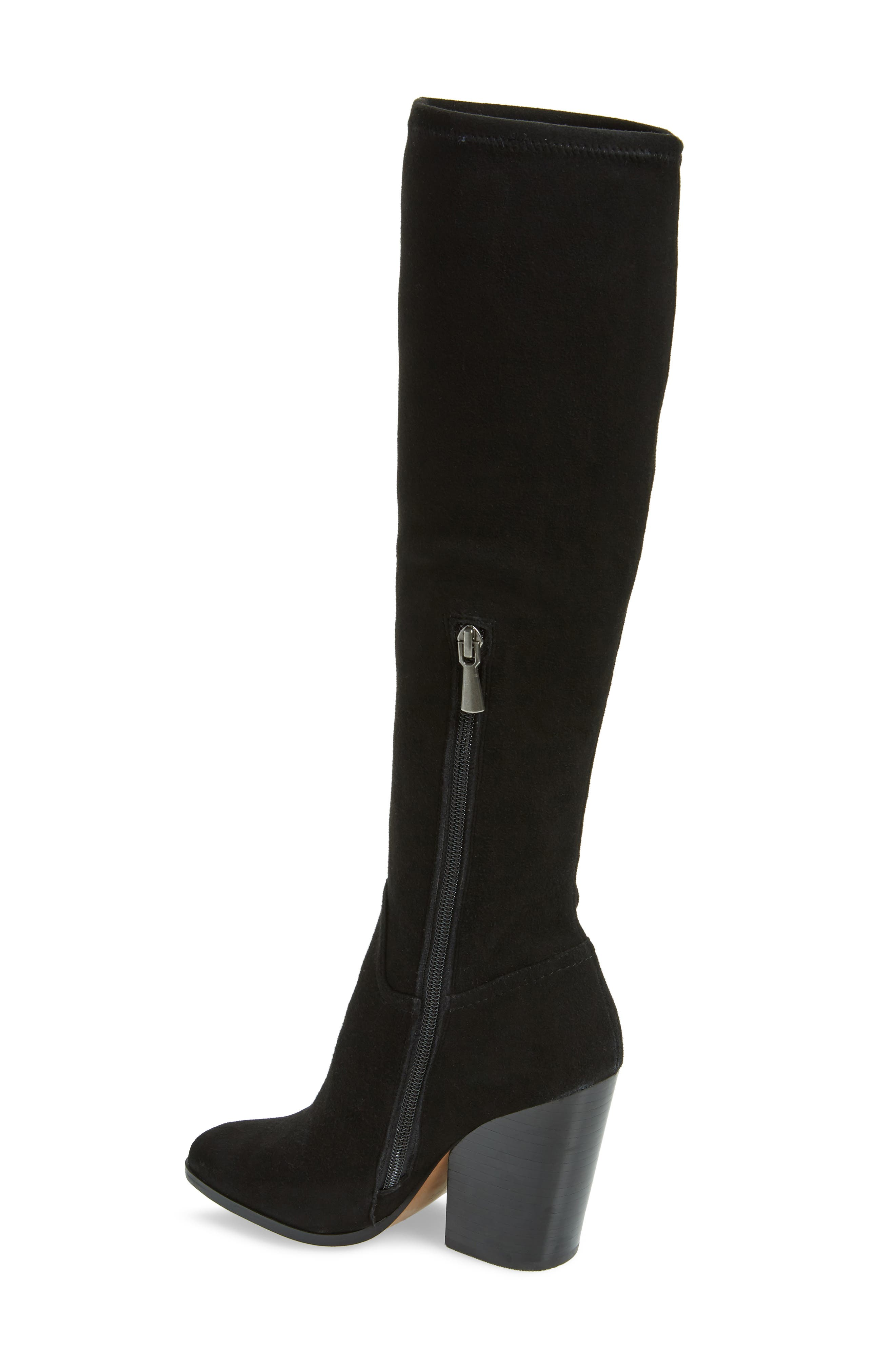 LINEA PAOLO, Elena Knee High Boot, Alternate thumbnail 2, color, BLACK STRETCH SUEDE