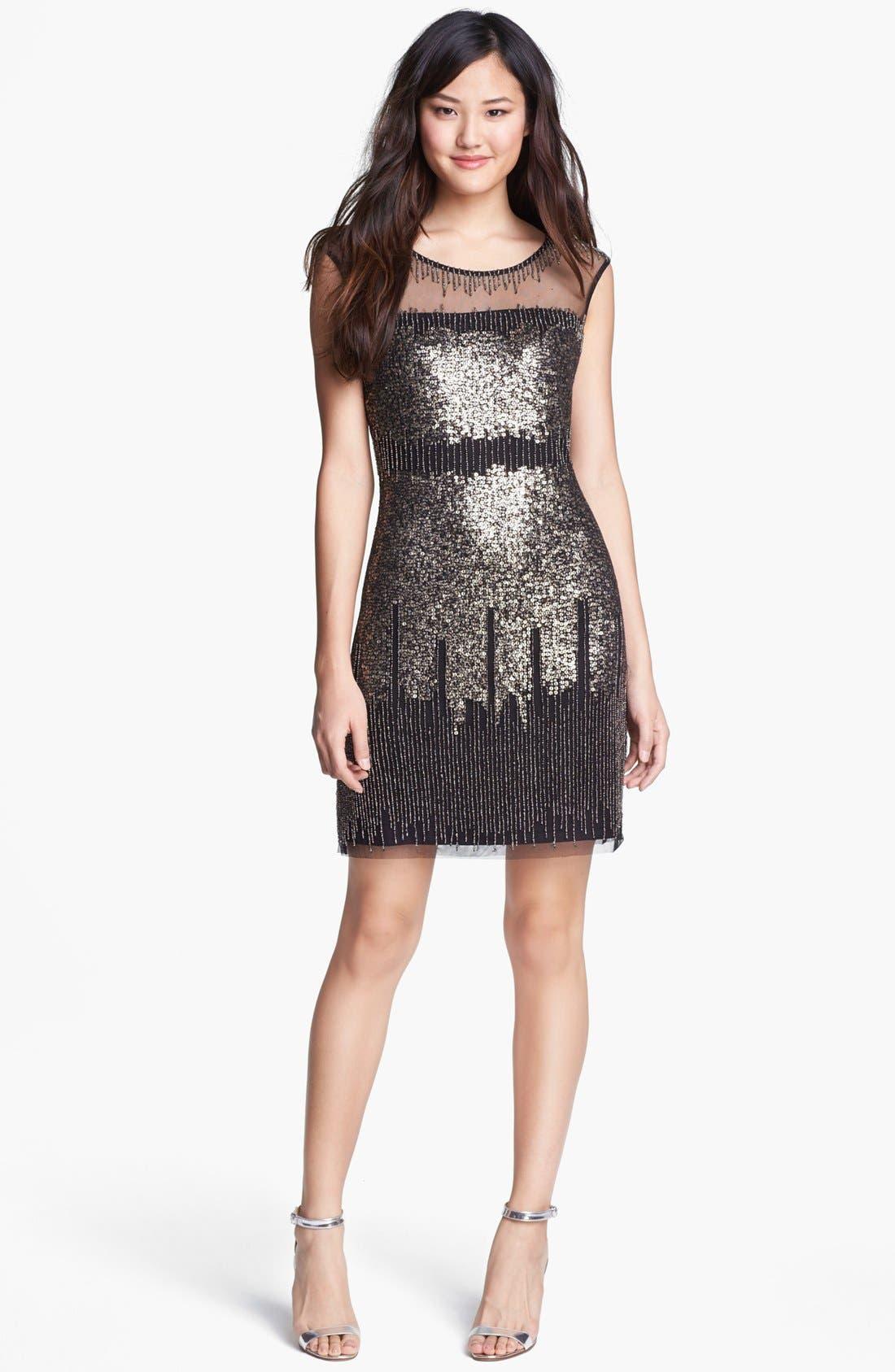 ADRIANNA PAPELL Illusion Yoke Beaded Sheath Dress, Main, color, 001