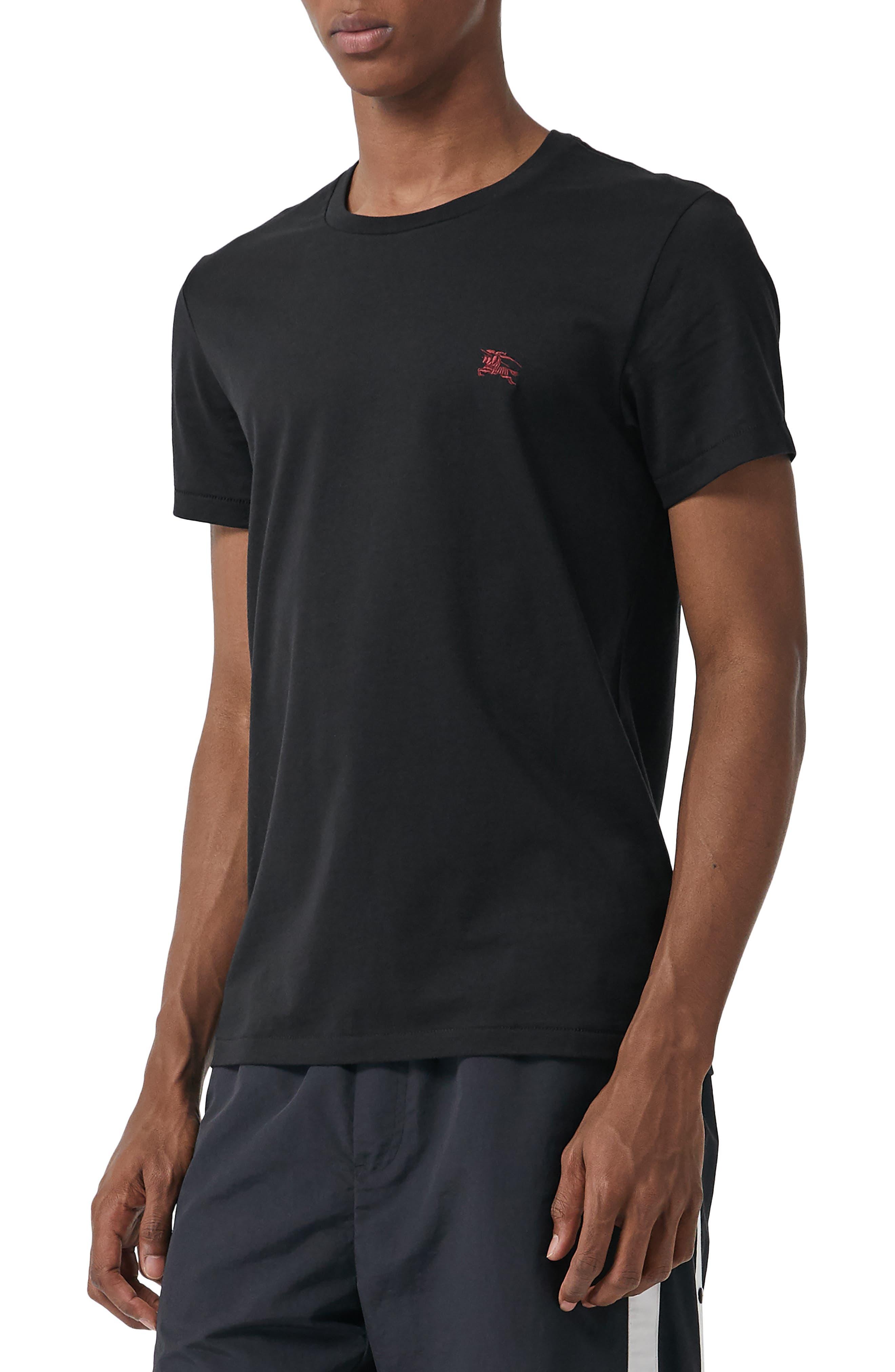 BURBERRY, Logo Embroidered Crewneck T-shirt, Main thumbnail 1, color, TRUE BLACK